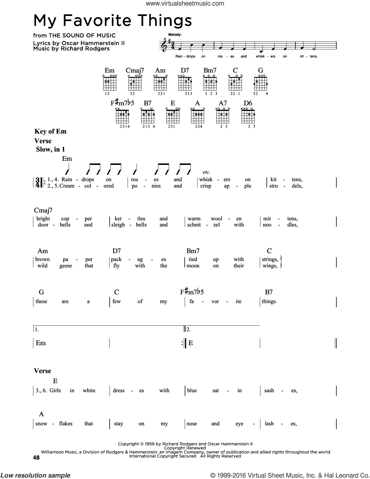 My Favorite Things sheet music for guitar solo (lead sheet) by Rodgers & Hammerstein, Chicago, Lorrie Morgan, Oscar II Hammerstein and Richard Rodgers, intermediate guitar (lead sheet)