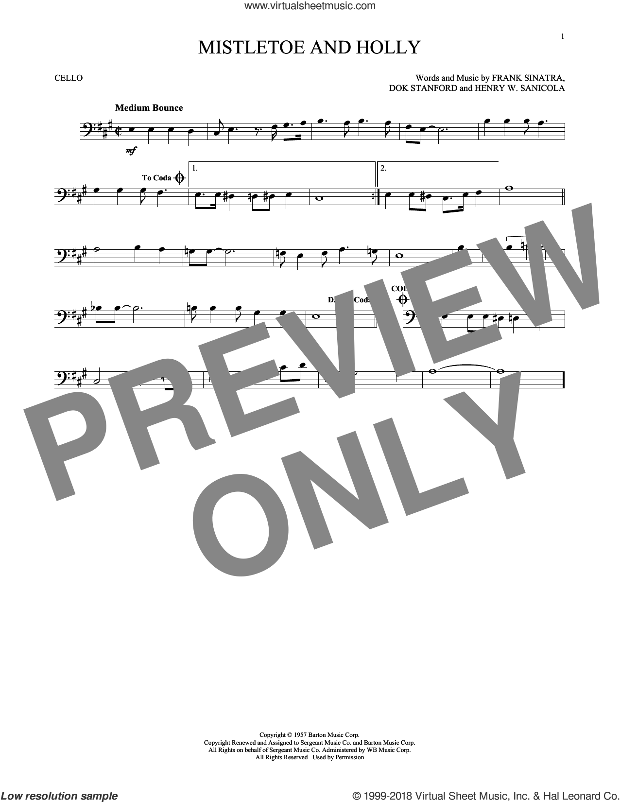 Mistletoe And Holly sheet music for cello solo by Frank Sinatra, Dok Stanford and Henry W. Sanicola, intermediate skill level
