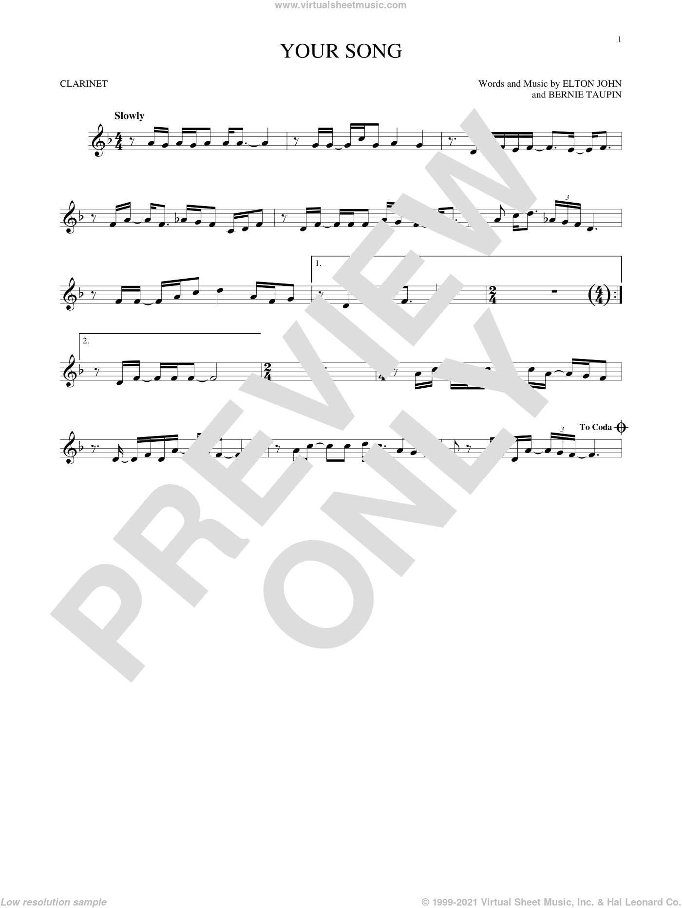 Your Song sheet music for clarinet solo by Elton John, Rod Stewart and Bernie Taupin, intermediate skill level