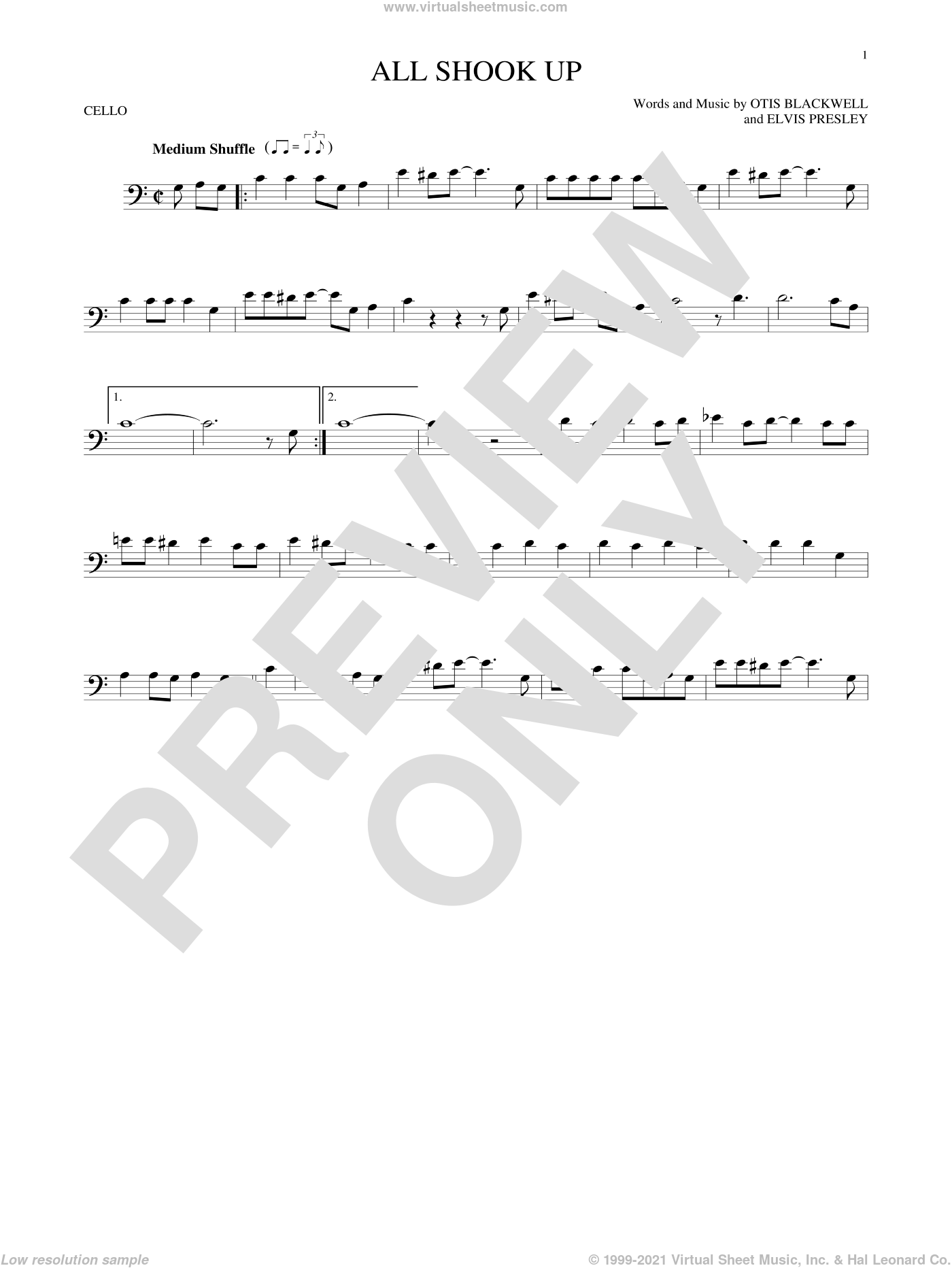 All Shook Up sheet music for cello solo by Elvis Presley, Suzi Quatro and Otis Blackwell, intermediate skill level