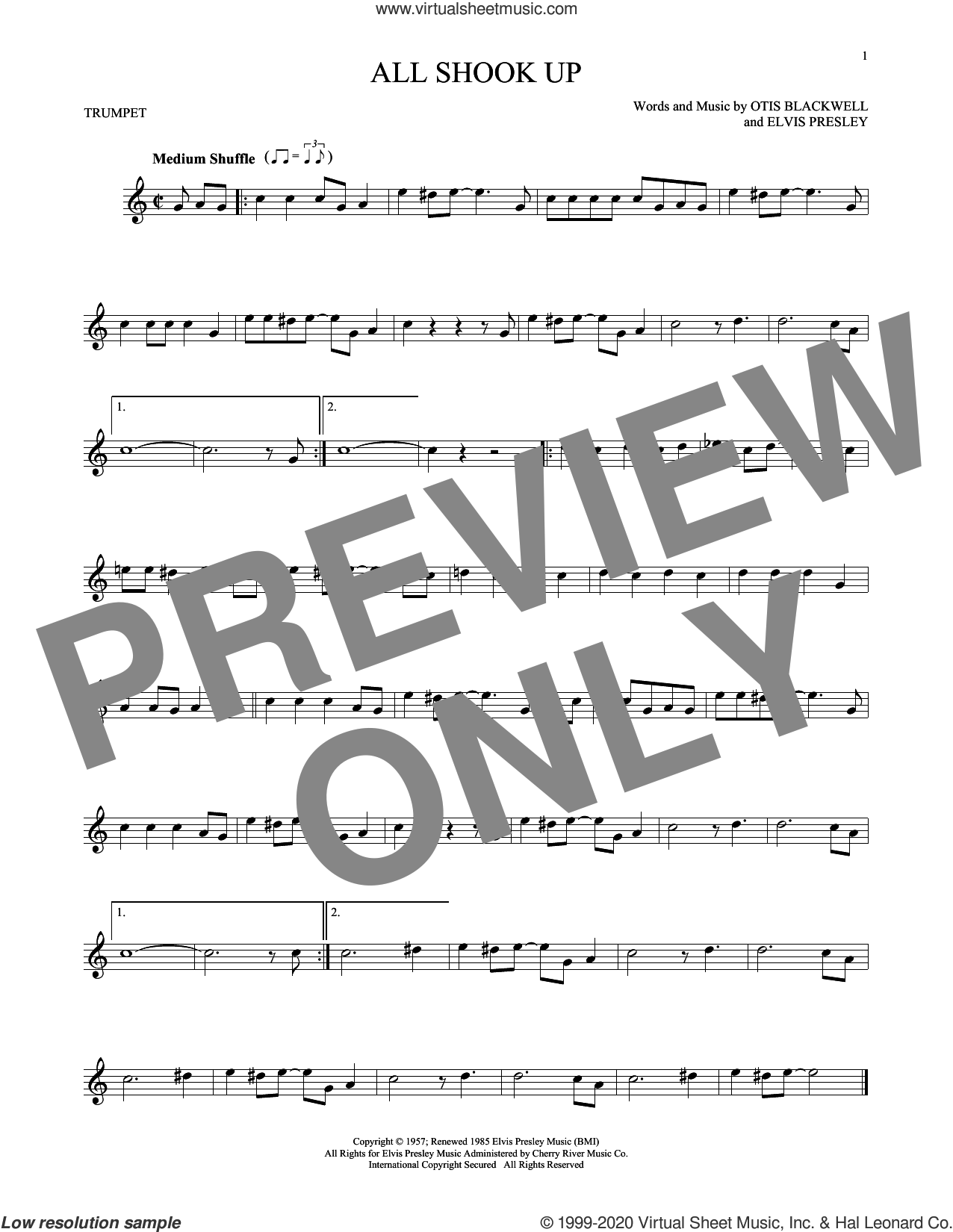 All Shook Up sheet music for trumpet solo by Elvis Presley, Suzi Quatro and Otis Blackwell, intermediate skill level