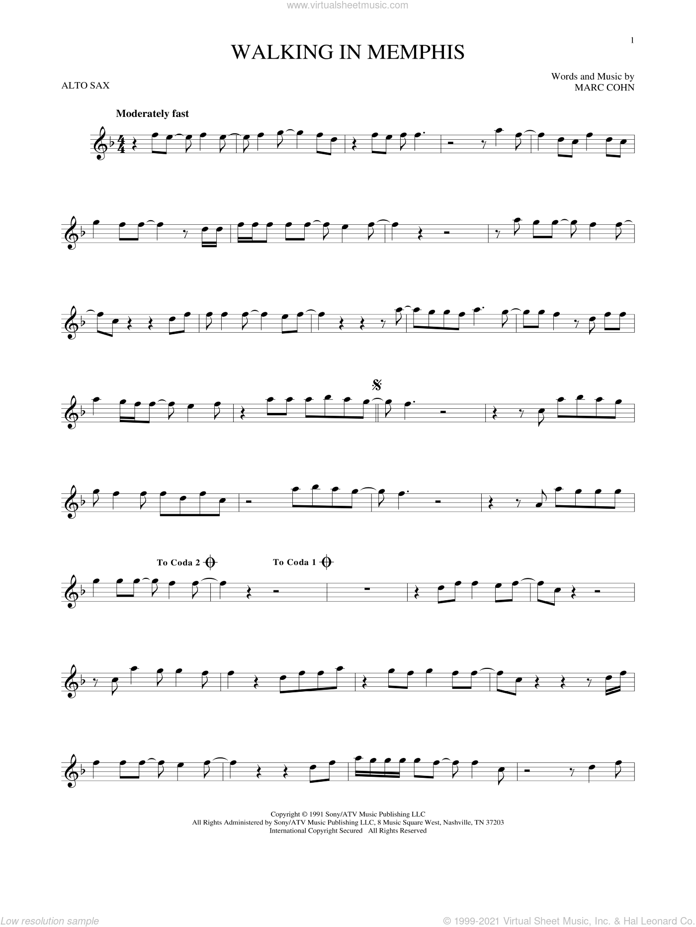 Walking In Memphis sheet music for alto saxophone solo by Marc Cohn and Lonestar, intermediate alto saxophone. Score Image Preview.