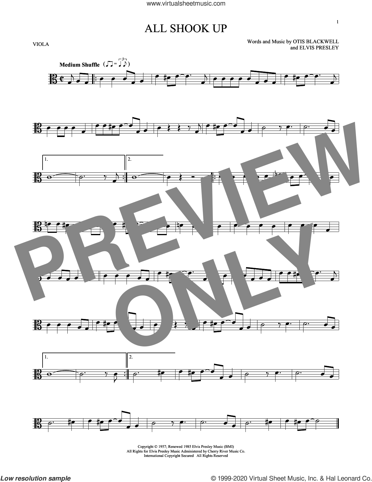 All Shook Up sheet music for viola solo by Elvis Presley, Suzi Quatro and Otis Blackwell, intermediate skill level