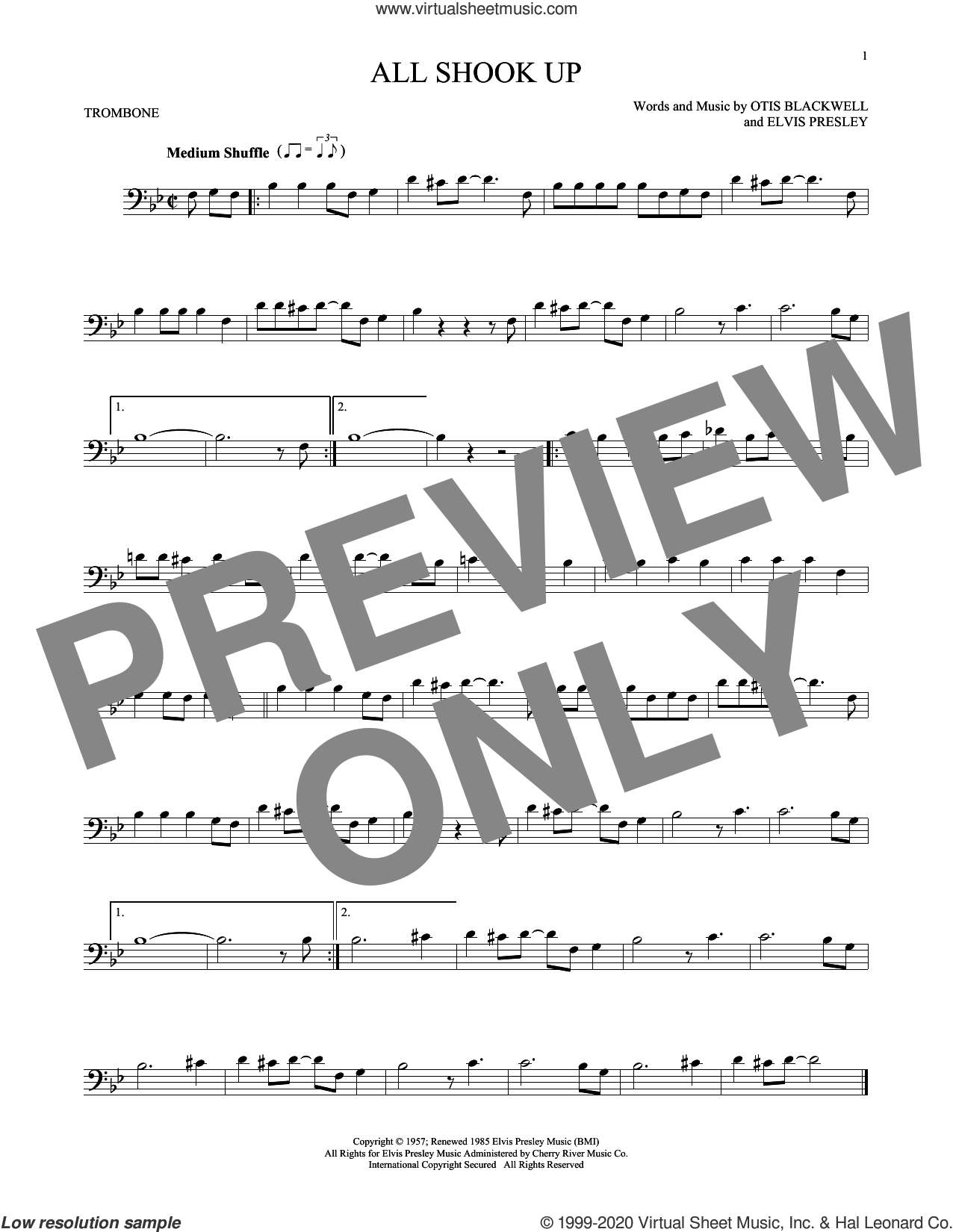 All Shook Up sheet music for trombone solo by Elvis Presley, Suzi Quatro and Otis Blackwell, intermediate skill level