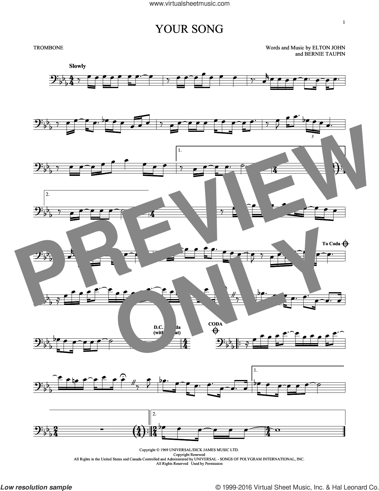 Your Song sheet music for trombone solo by Elton John, Rod Stewart and Bernie Taupin, intermediate. Score Image Preview.