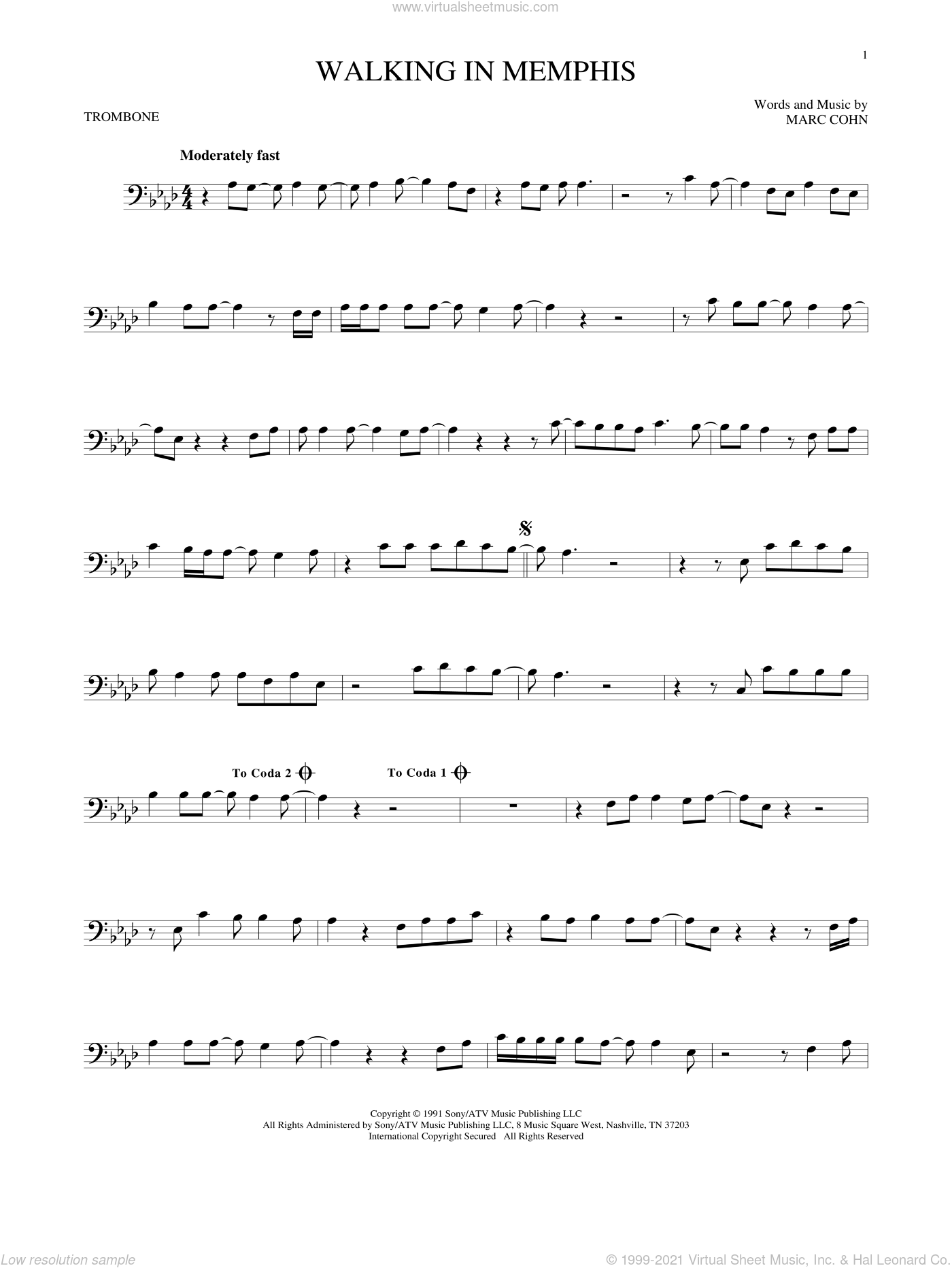 Walking In Memphis sheet music for trombone solo by Marc Cohn and Lonestar, intermediate trombone. Score Image Preview.