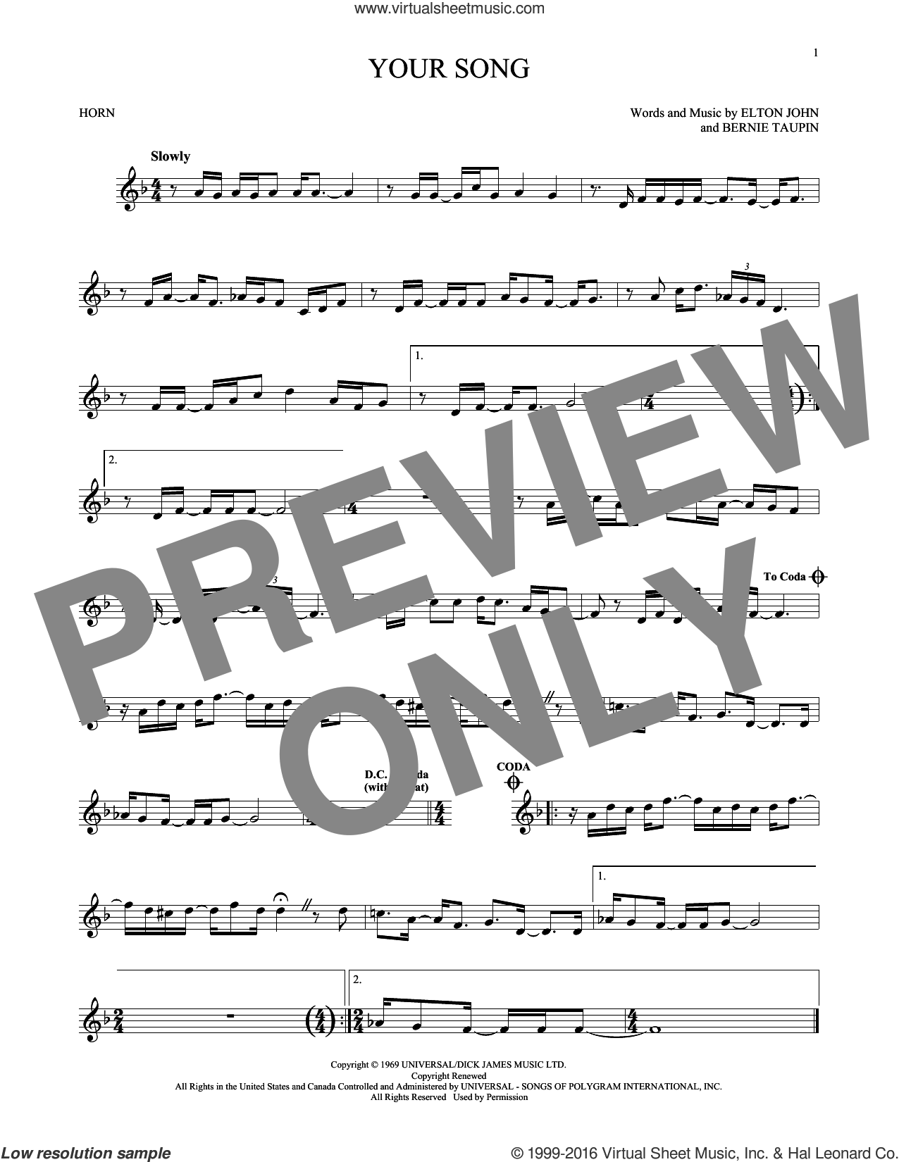 Your Song sheet music for horn solo by Elton John and Rod Stewart, intermediate skill level