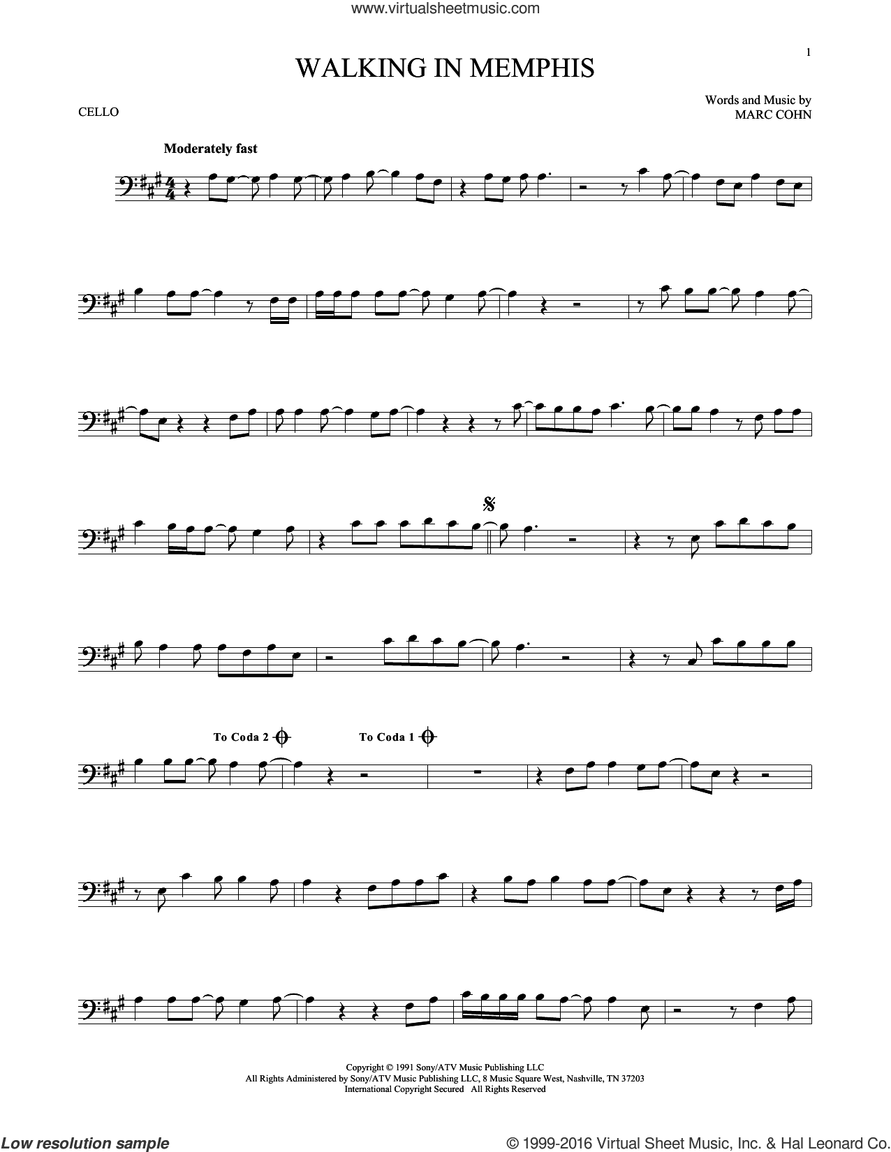 Walking In Memphis sheet music for cello solo by Marc Cohn and Lonestar, intermediate skill level