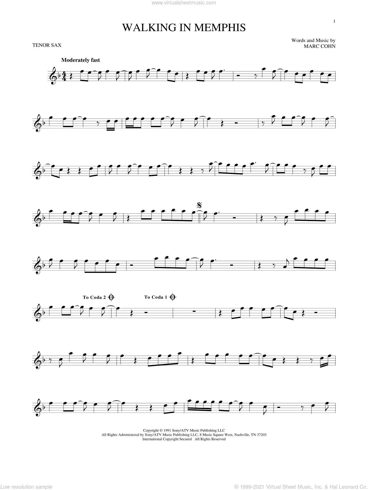 Walking In Memphis sheet music for tenor saxophone solo by Marc Cohn and Lonestar, intermediate skill level