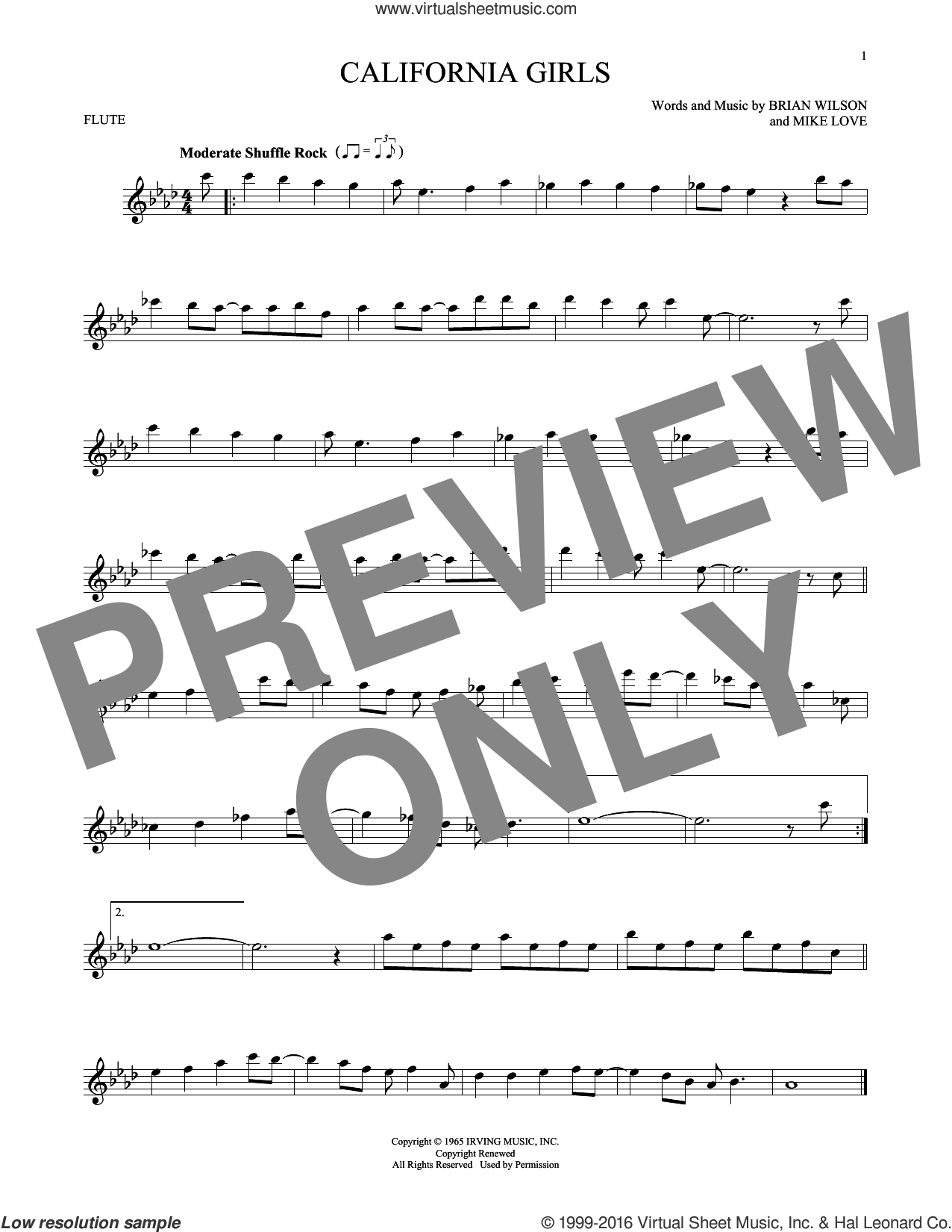 California Girls sheet music for flute solo by The Beach Boys, David Lee Roth, Brian Wilson and Mike Love, intermediate skill level