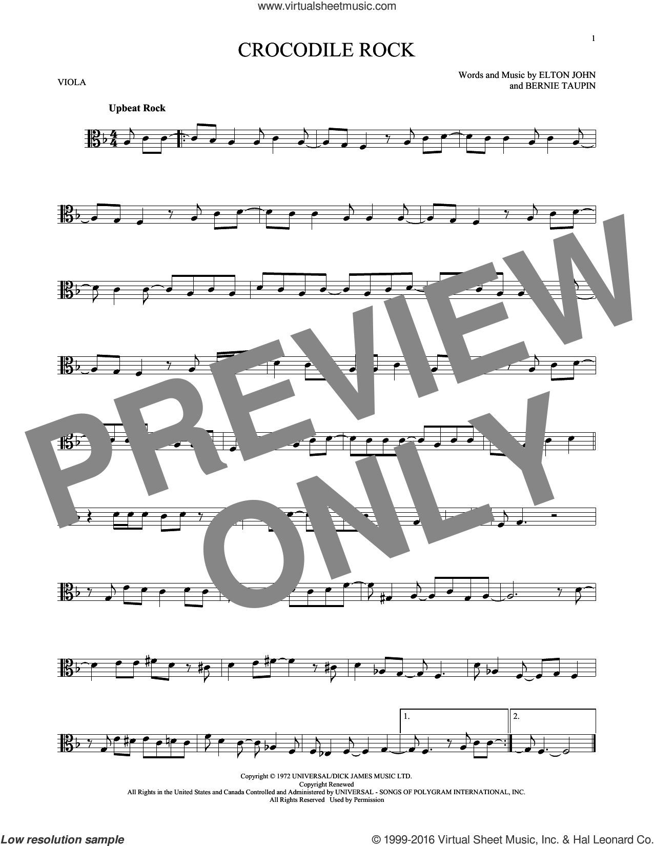 Crocodile Rock sheet music for viola solo by Elton John and Bernie Taupin, intermediate skill level