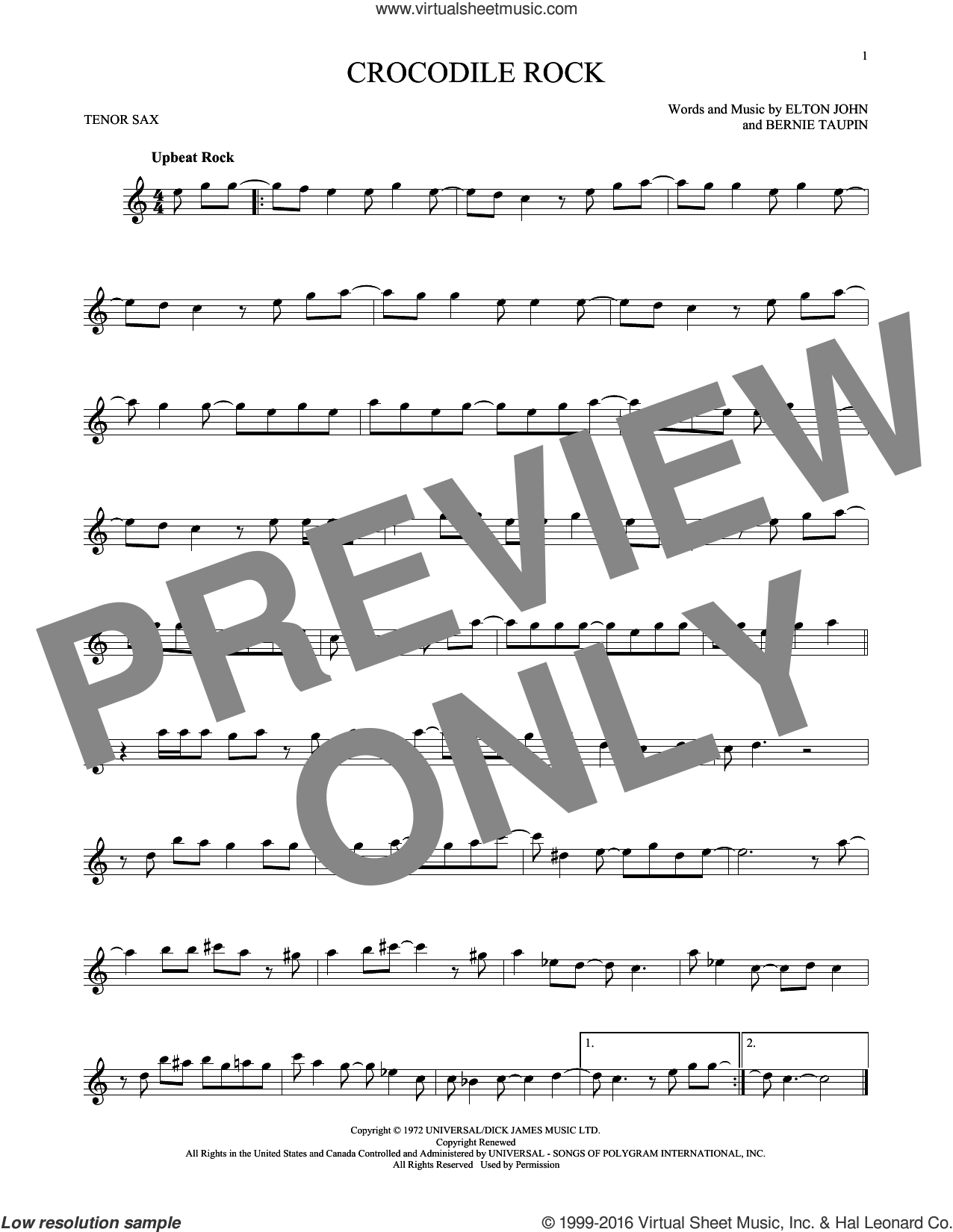 Crocodile Rock sheet music for tenor saxophone solo by Elton John and Bernie Taupin, intermediate. Score Image Preview.