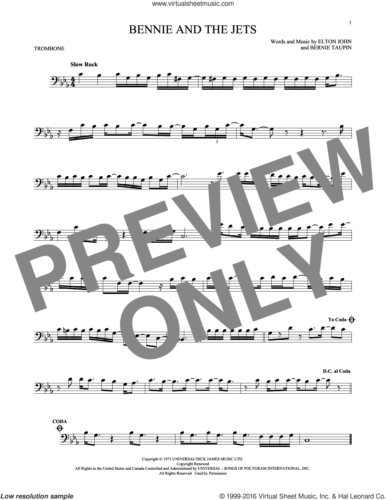 Bennie And The Jets sheet music for trombone solo by Bernie Taupin and Elton John. Score Image Preview.