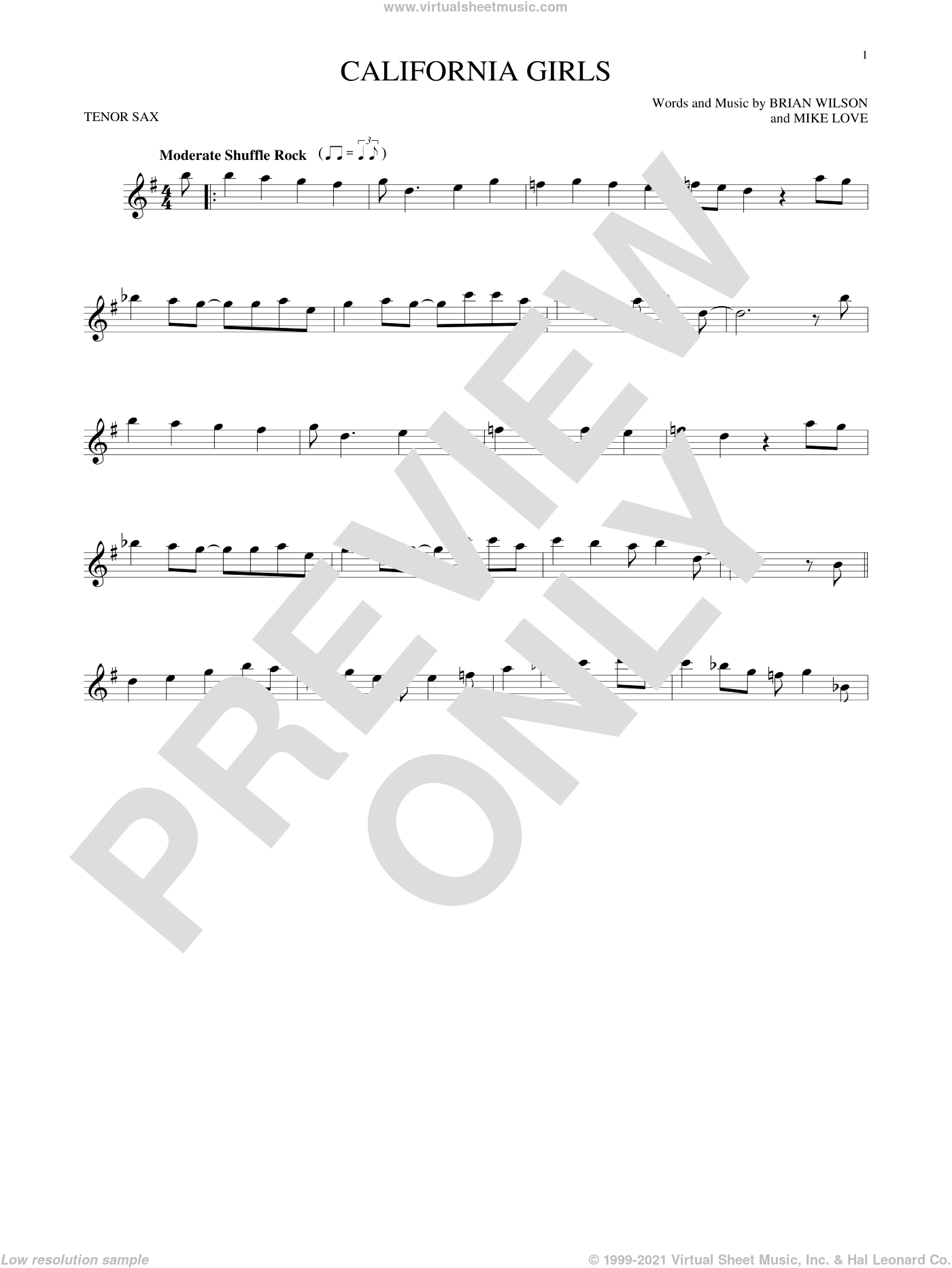 California Girls sheet music for tenor saxophone solo by Mike Love, David Lee Roth, The Beach Boys and Brian Wilson. Score Image Preview.