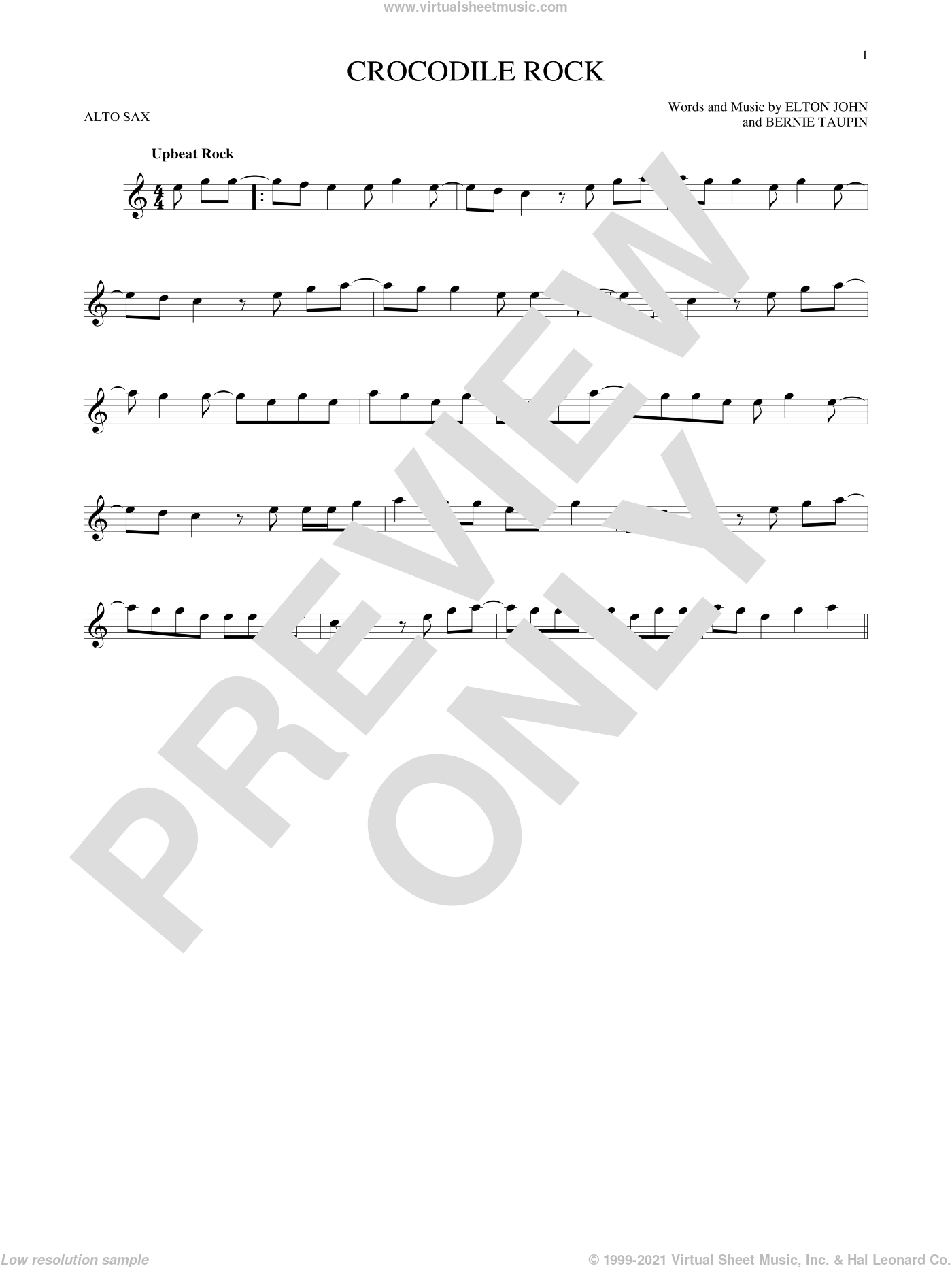 Crocodile Rock sheet music for alto saxophone solo by Elton John and Bernie Taupin, intermediate skill level