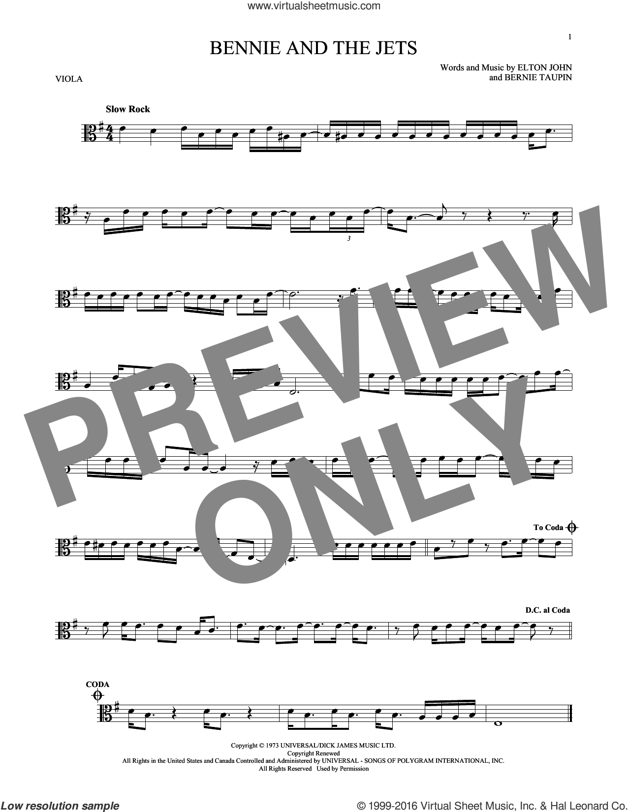 Bennie And The Jets sheet music for viola solo by Bernie Taupin and Elton John. Score Image Preview.