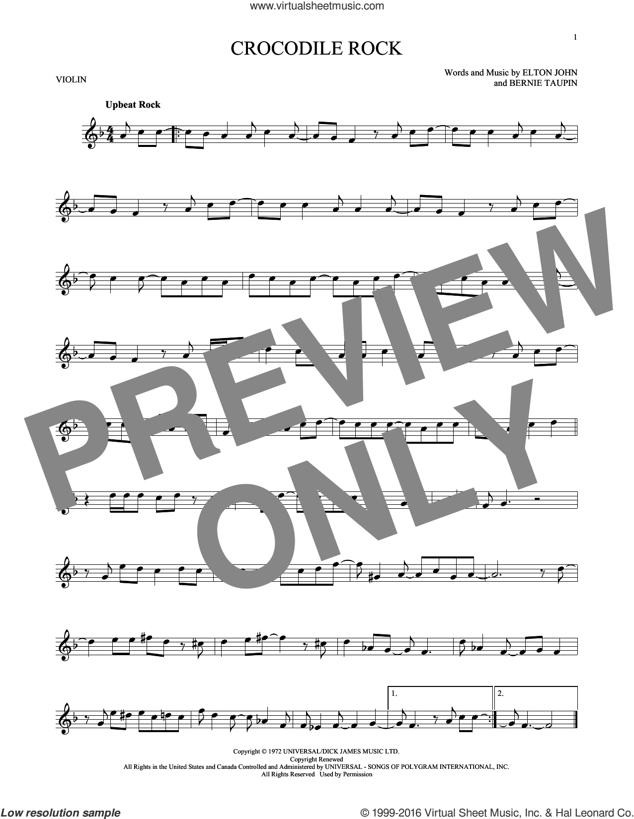 Crocodile Rock sheet music for violin solo by Elton John and Bernie Taupin. Score Image Preview.