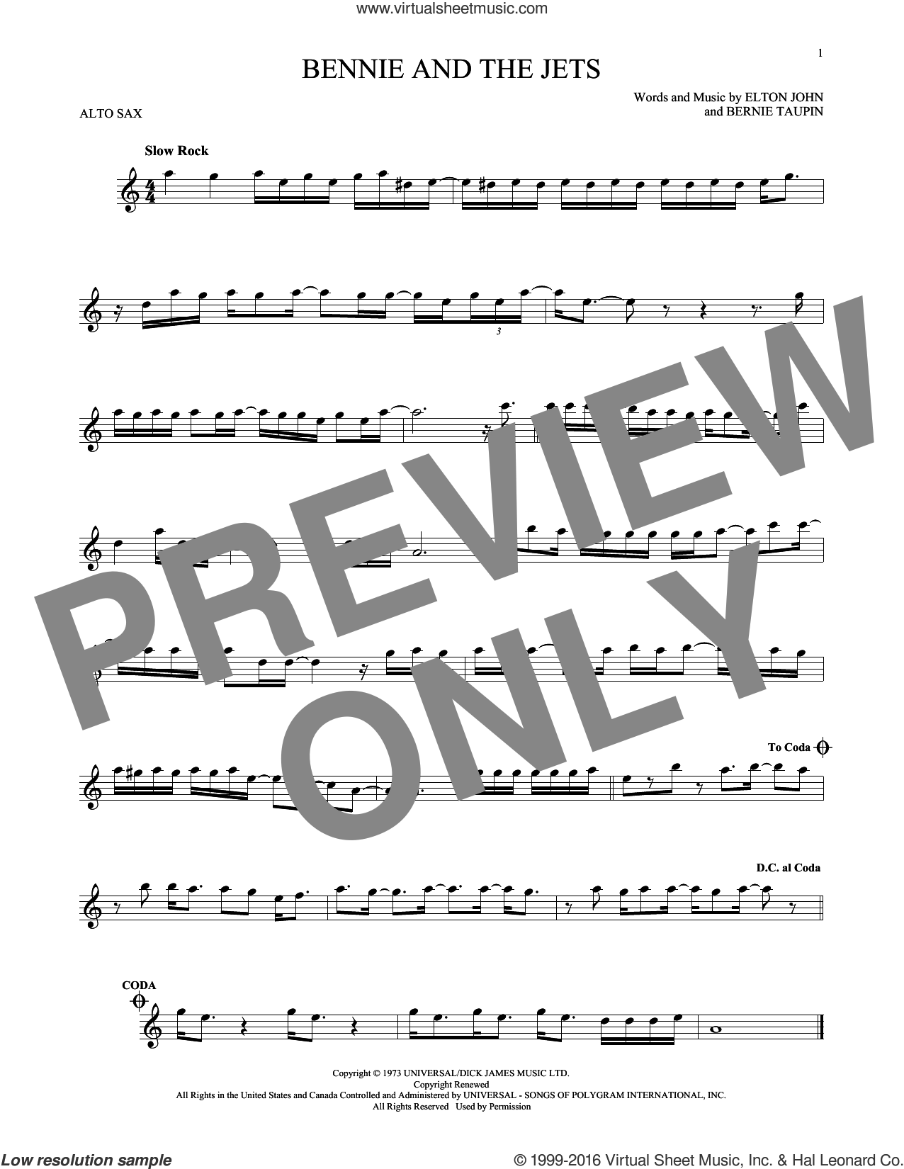 Bennie And The Jets sheet music for alto saxophone solo by Bernie Taupin and Elton John. Score Image Preview.