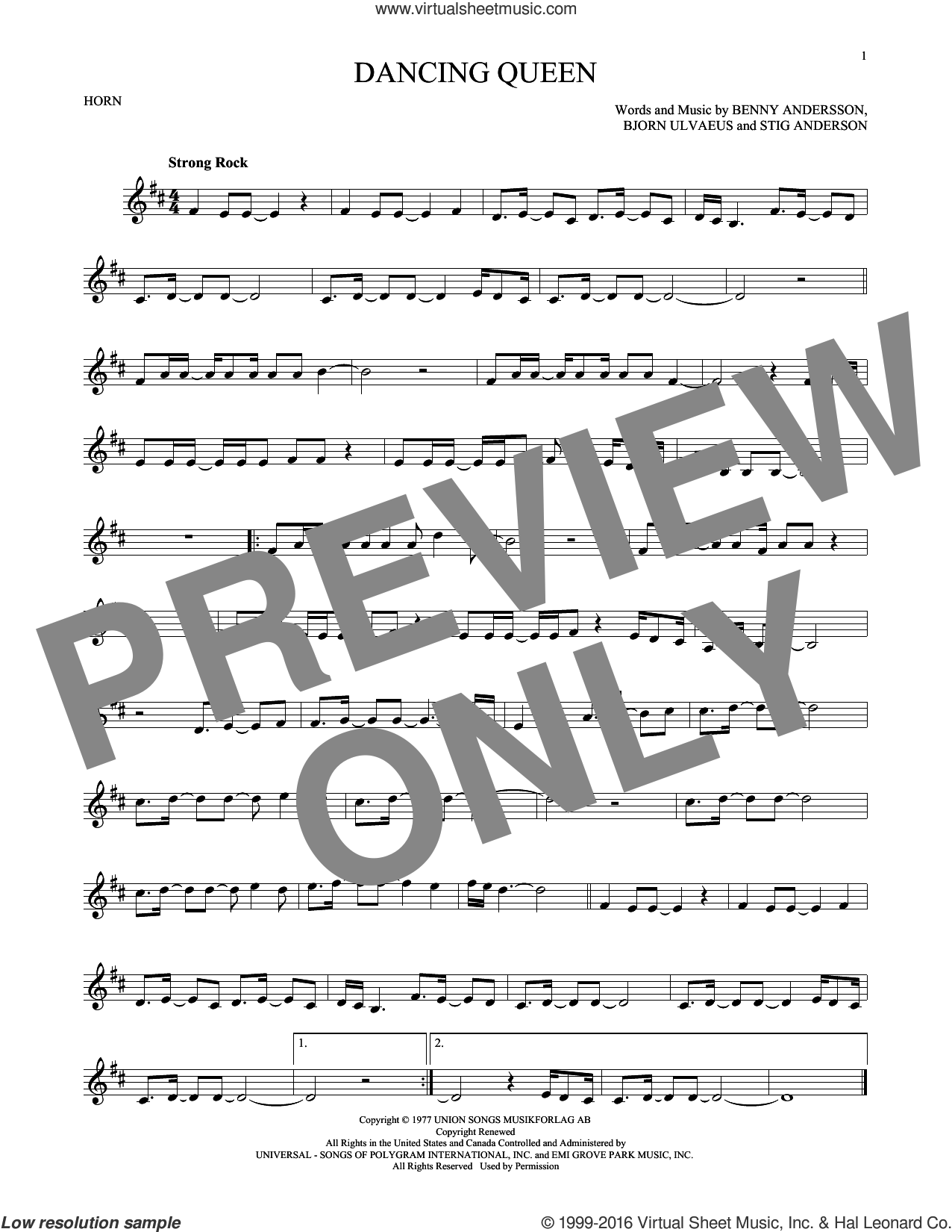 Dancing Queen sheet music for horn solo by ABBA, Benny Andersson, Bjorn Ulvaeus and Stig Anderson, intermediate skill level