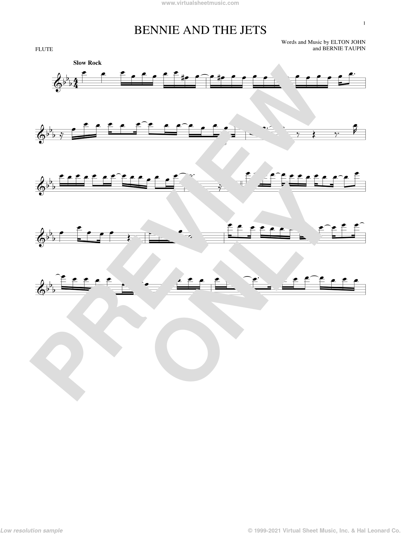 Bennie And The Jets sheet music for flute solo by Elton John and Bernie Taupin, intermediate flute. Score Image Preview.