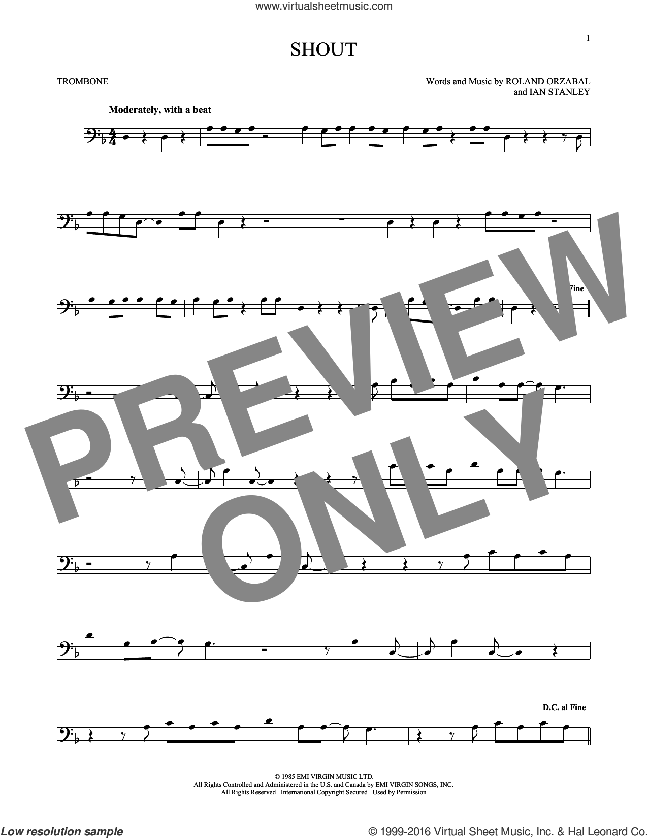 Shout sheet music for trombone solo by Tears For Fears, Ian Stanley and Roland Orzabal, intermediate. Score Image Preview.