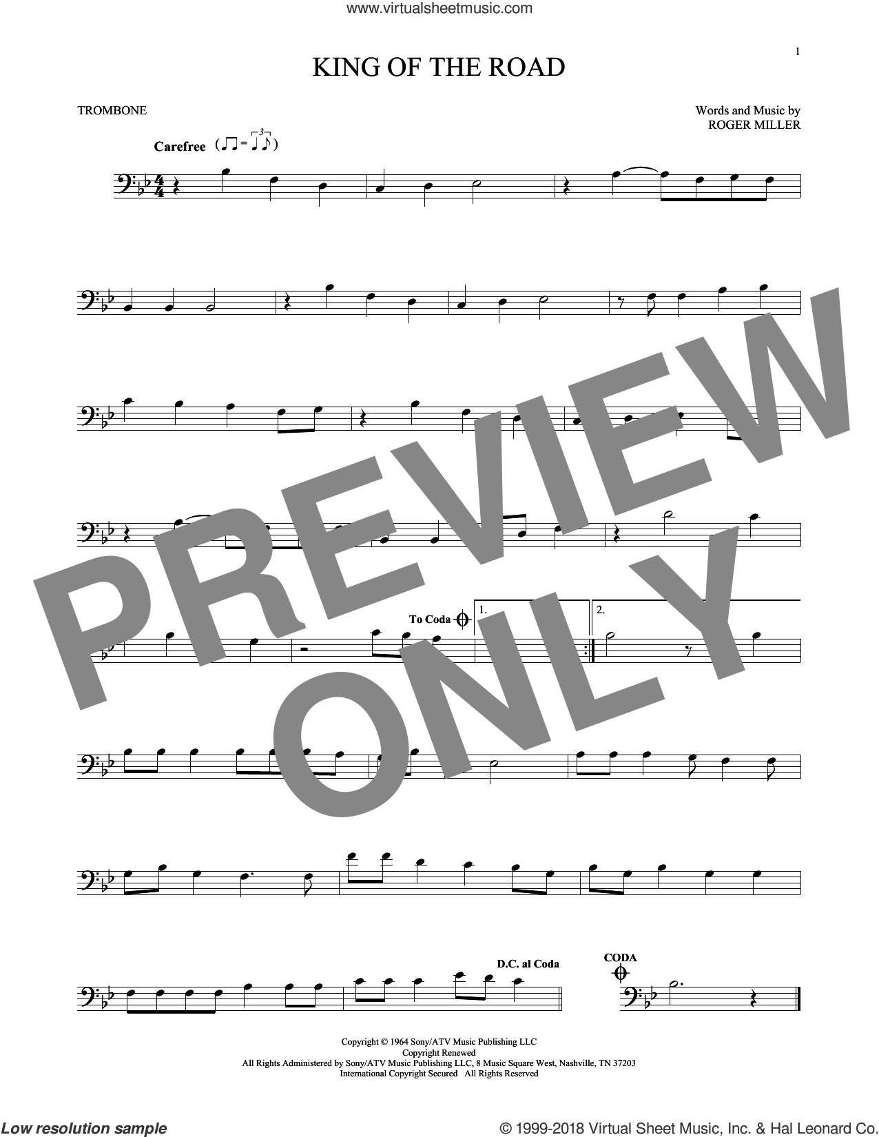 King Of The Road sheet music for trombone solo by Roger Miller and Randy Travis. Score Image Preview.