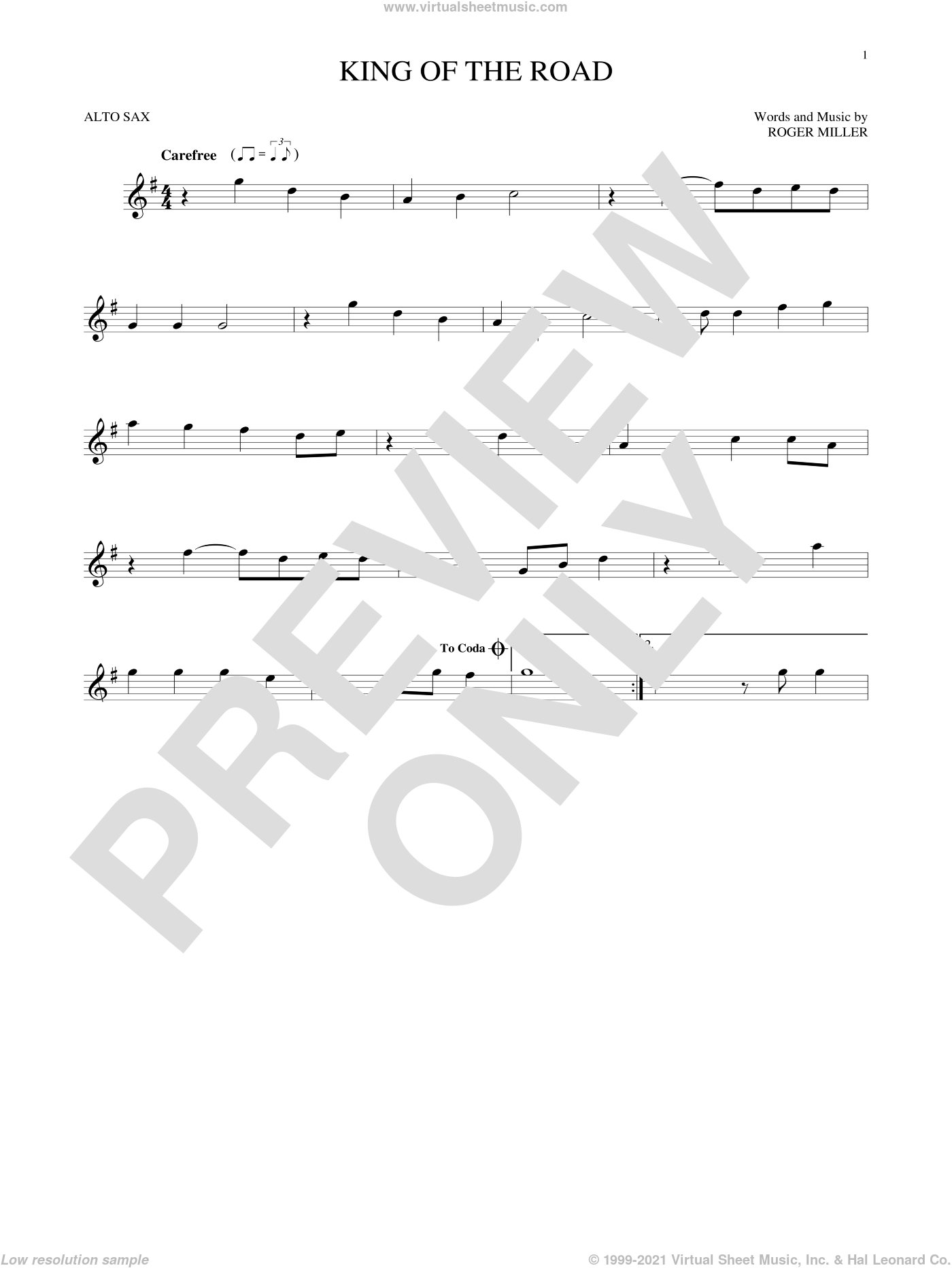 King Of The Road sheet music for alto saxophone solo by Roger Miller and Randy Travis, intermediate skill level