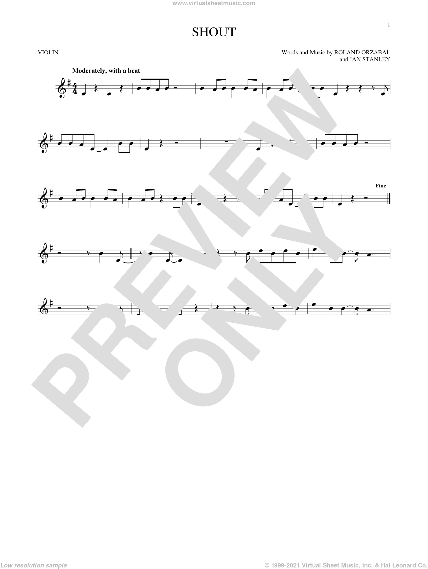 Shout sheet music for violin solo by Tears For Fears, Ian Stanley and Roland Orzabal, intermediate skill level