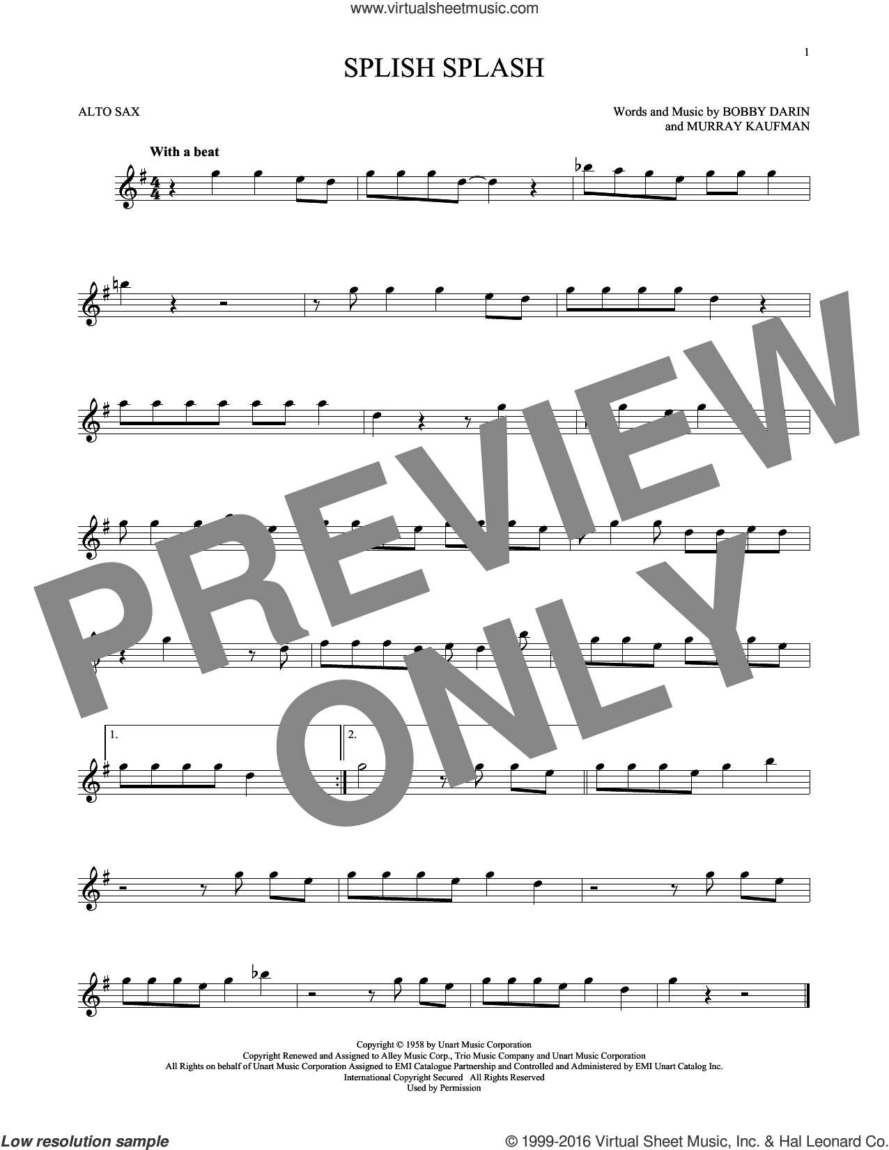 Splish Splash sheet music for alto saxophone solo by Murray Kaufman and Bobby Darin. Score Image Preview.