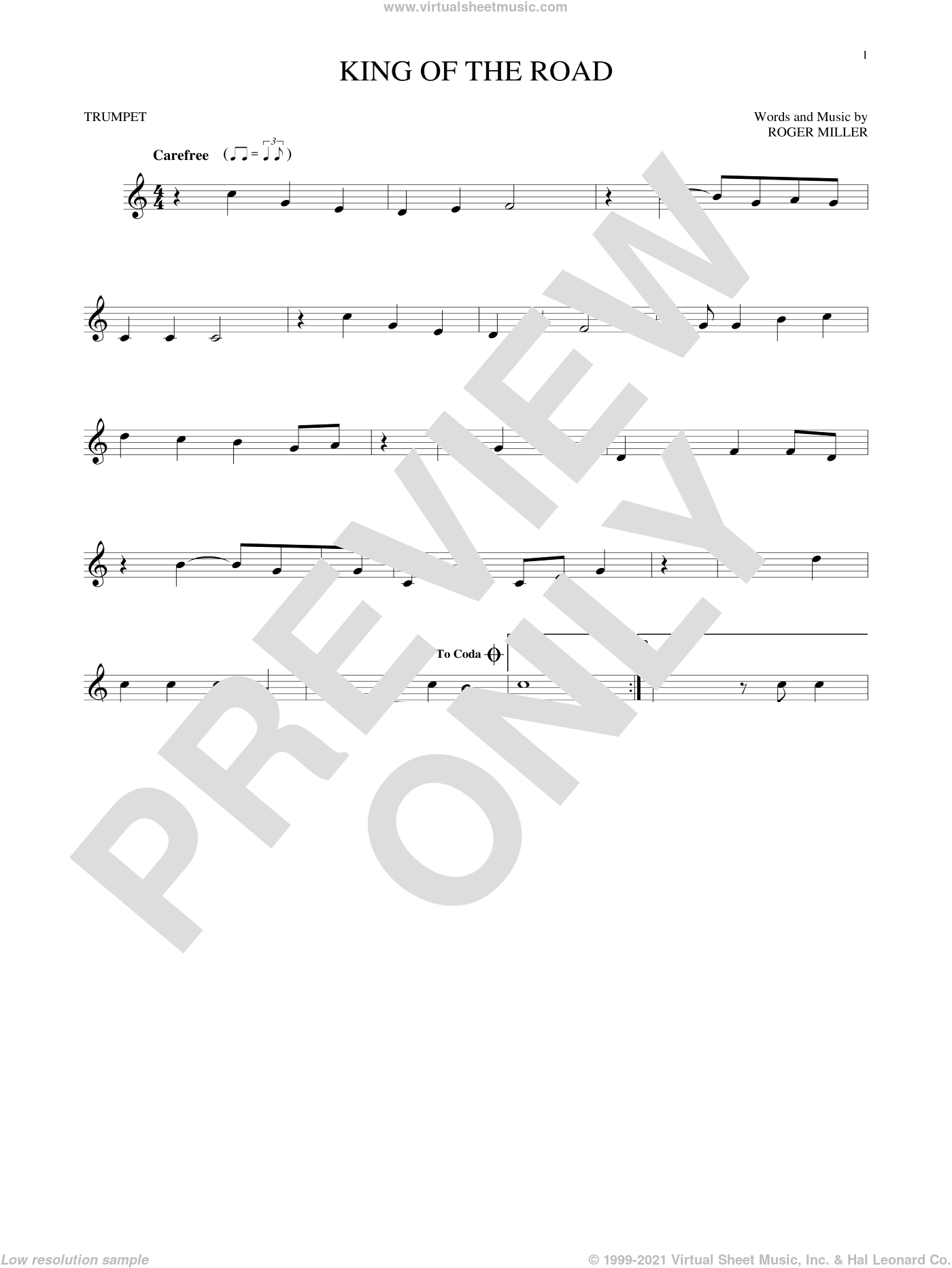 King Of The Road sheet music for trumpet solo by Roger Miller and Randy Travis. Score Image Preview.