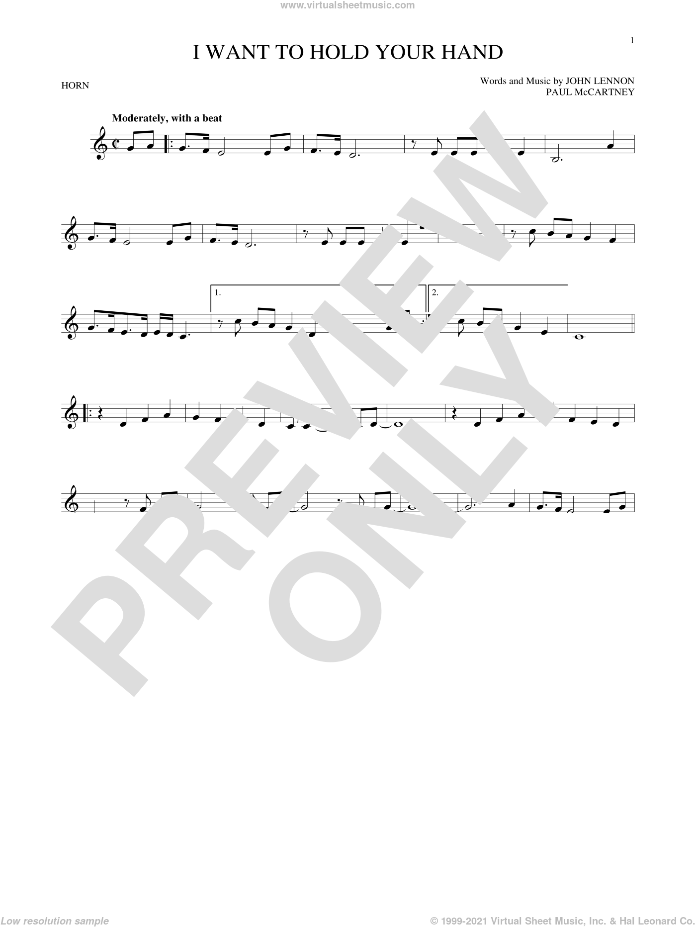 I Want To Hold Your Hand sheet music for horn solo by Paul McCartney, The Beatles and John Lennon. Score Image Preview.