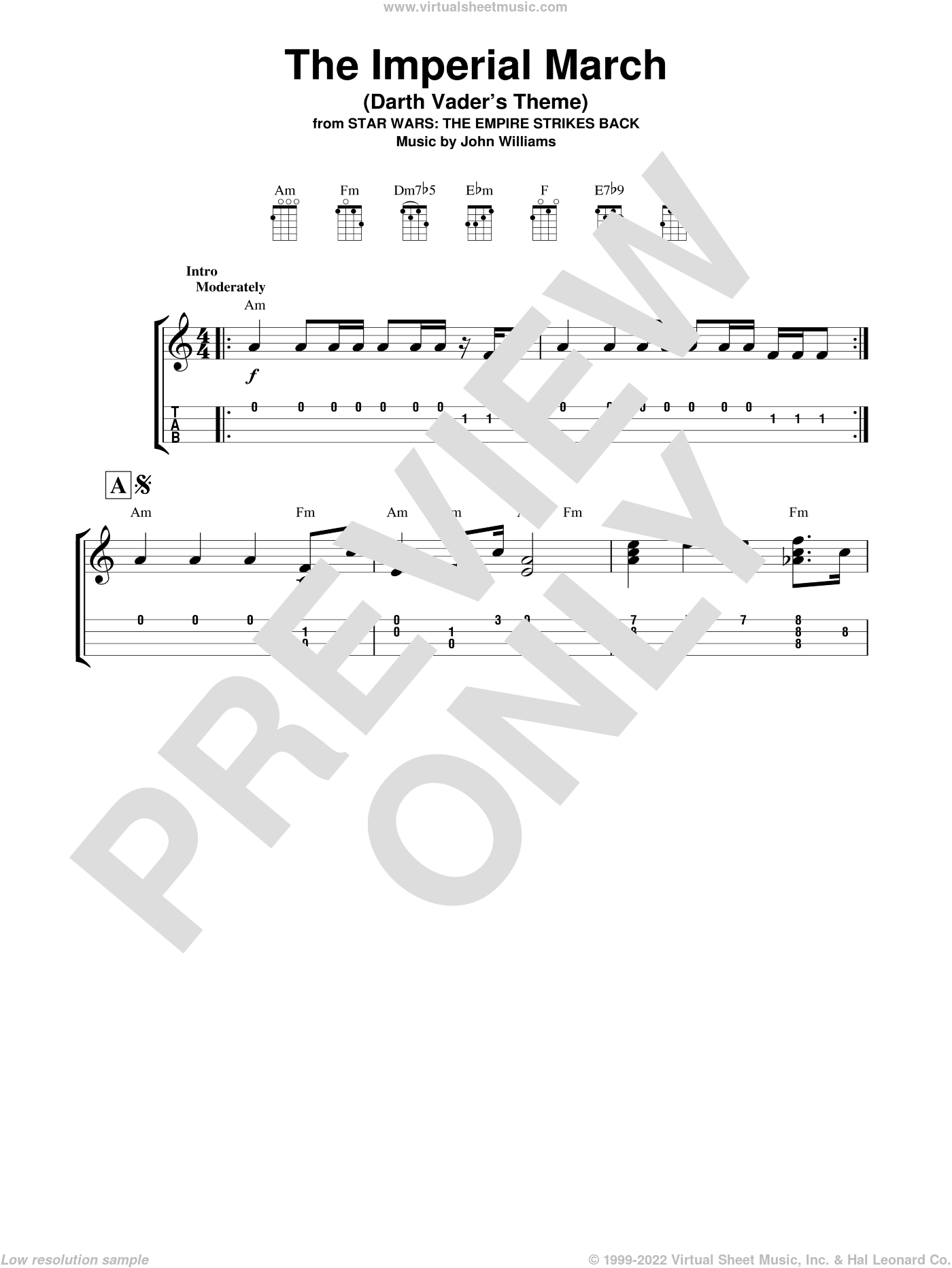 The Imperial March (Darth Vader's Theme) sheet music for ukulele by John Williams, intermediate skill level