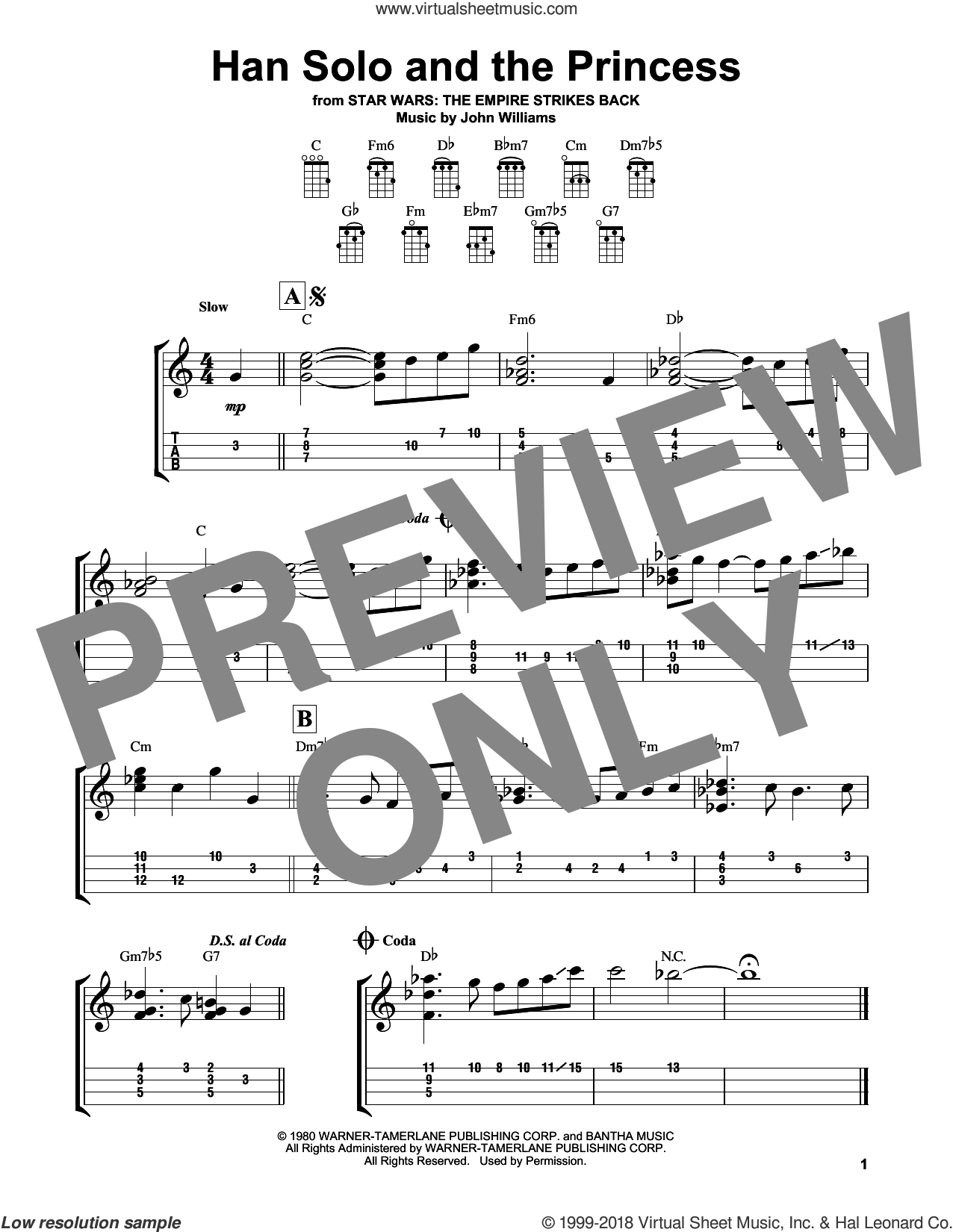 Han Solo And The Princess sheet music for ukulele by John Williams, intermediate skill level