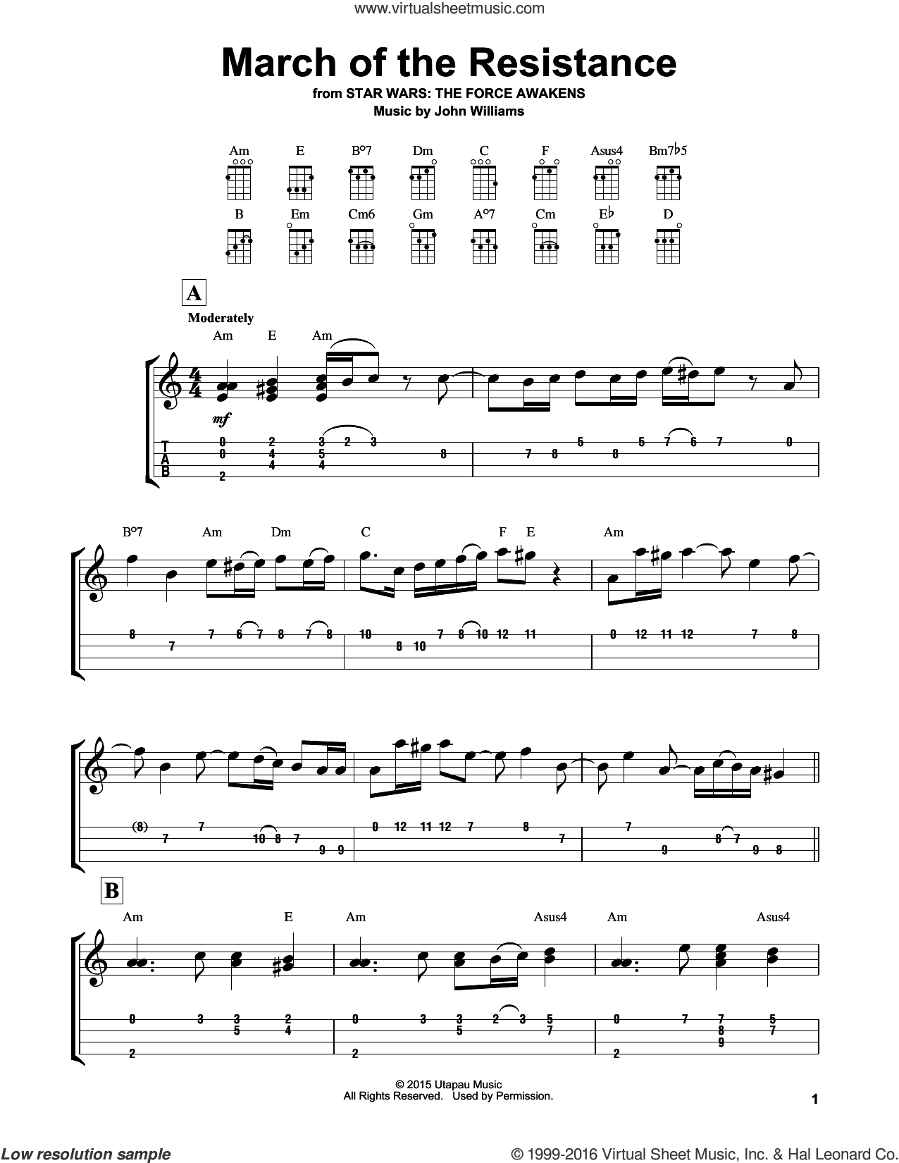 March Of The Resistance sheet music for ukulele by John Williams. Score Image Preview.
