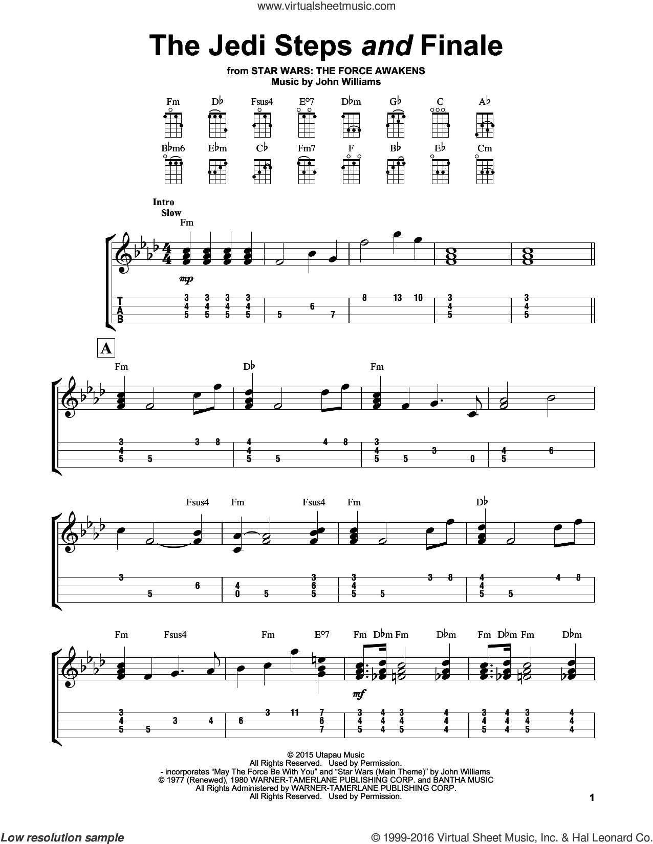 The Jedi Steps And Finale sheet music for ukulele by John Williams, intermediate skill level