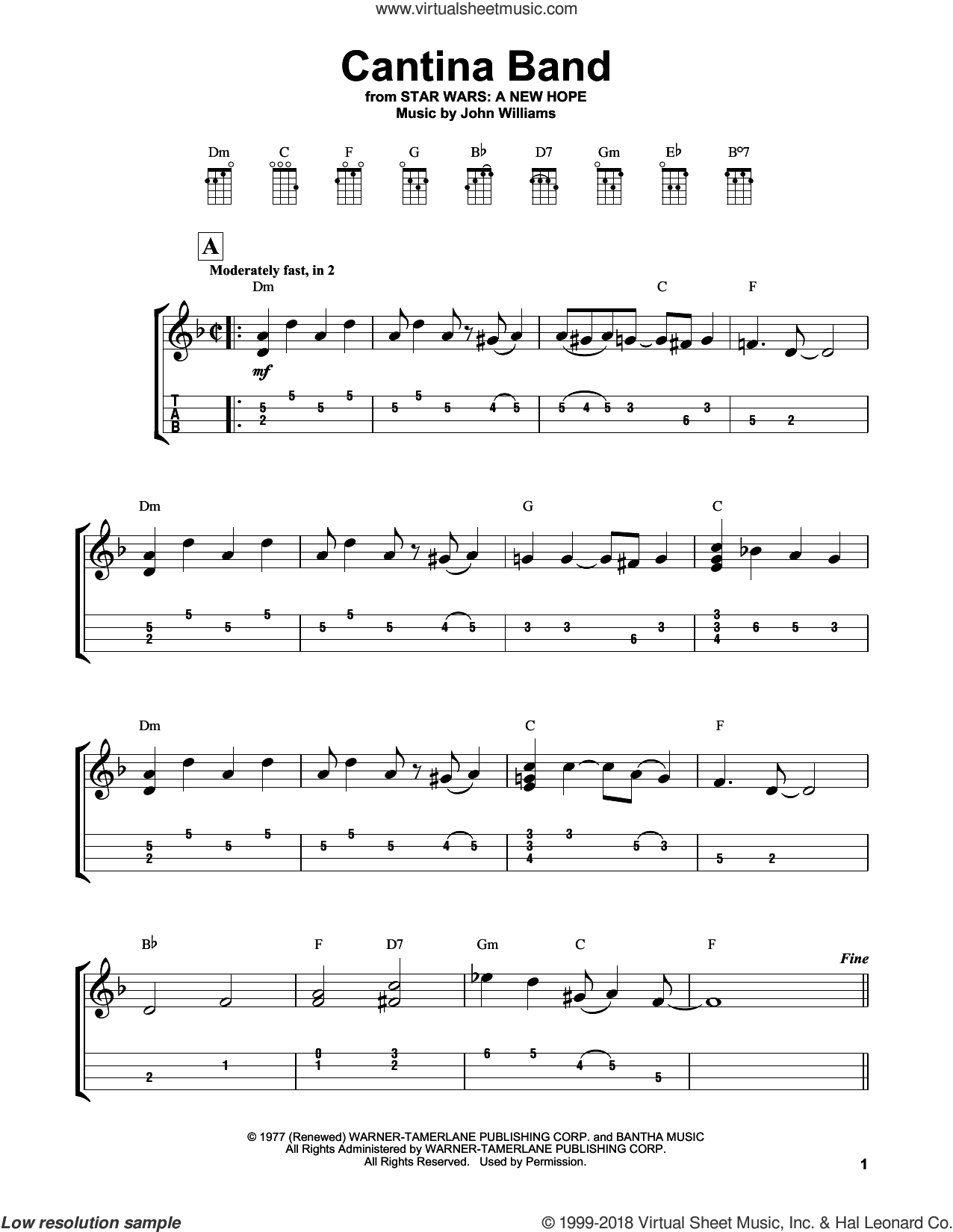 Cantina Band sheet music for ukulele by John Williams, intermediate skill level