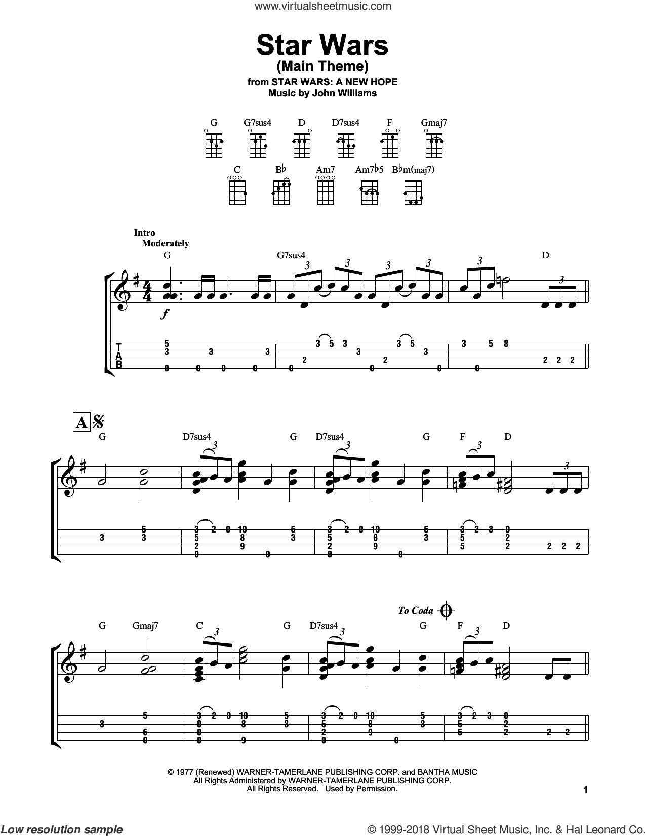 Star Wars (Main Theme) sheet music for ukulele (easy tablature) (ukulele easy tab) by John Williams, intermediate skill level