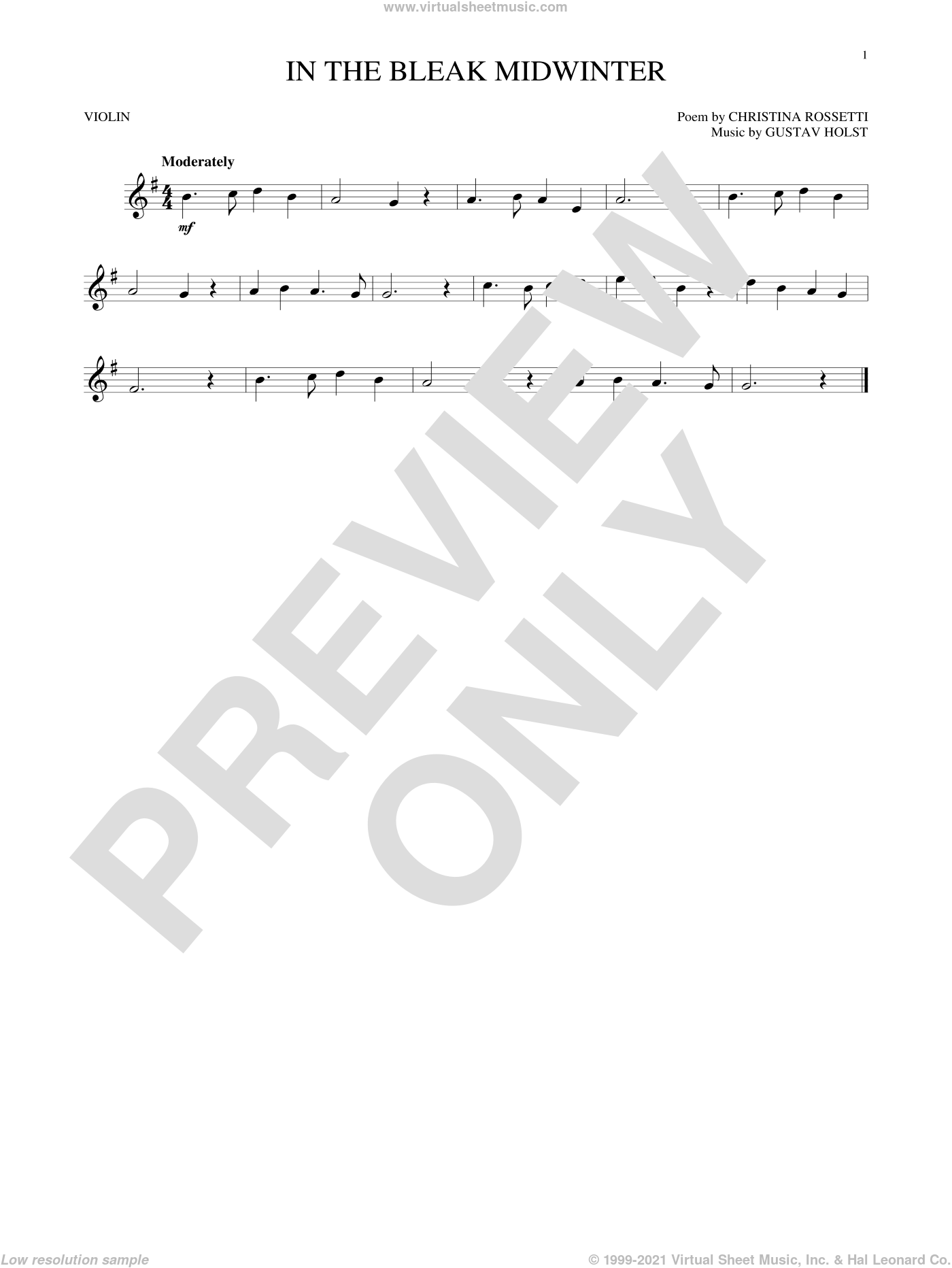 In The Bleak Midwinter sheet music for violin solo by Gustav Holst and Christina Rossetti, intermediate skill level