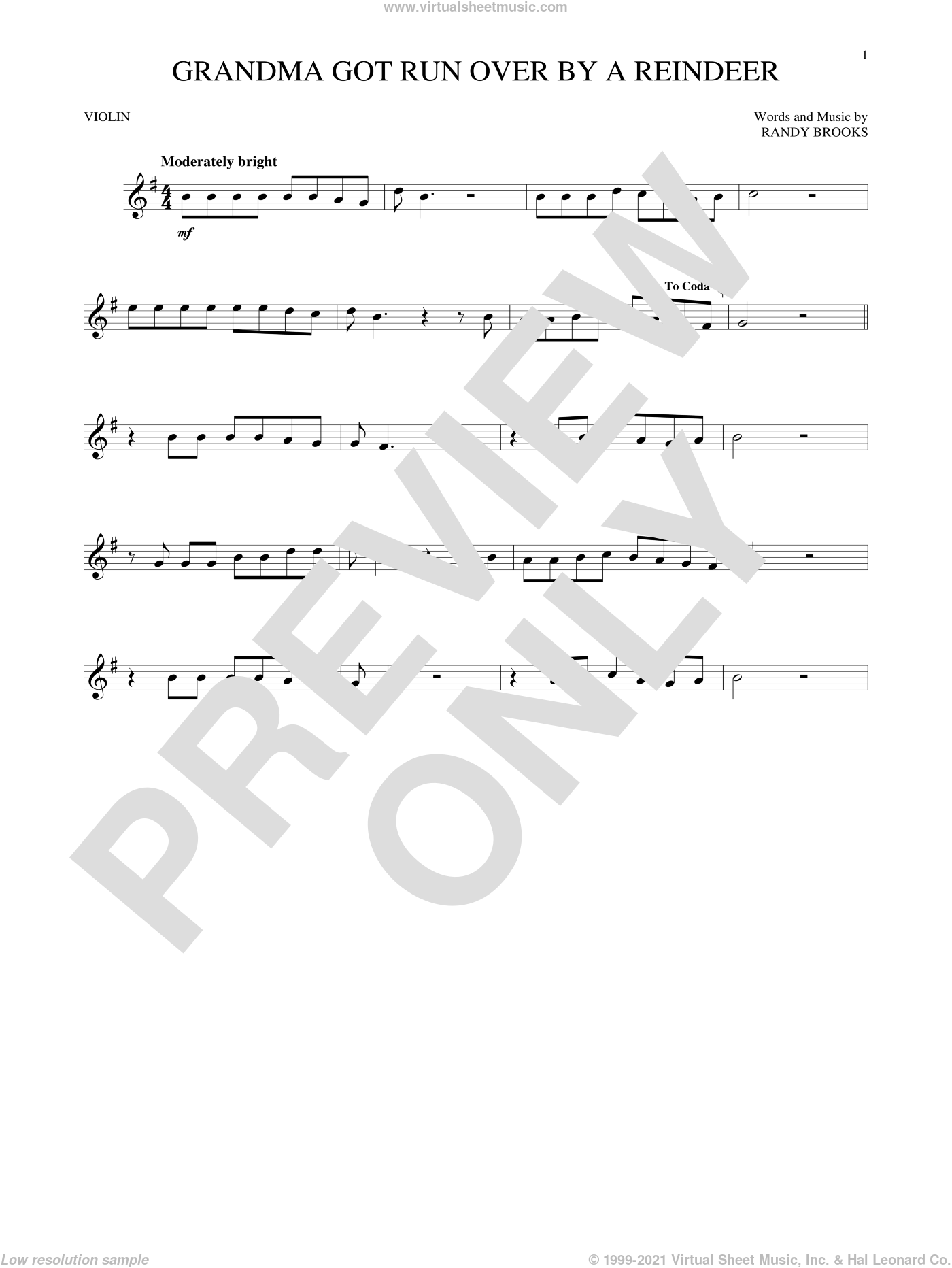 Grandma Got Run Over By A Reindeer sheet music for violin solo by Randy Brooks. Score Image Preview.