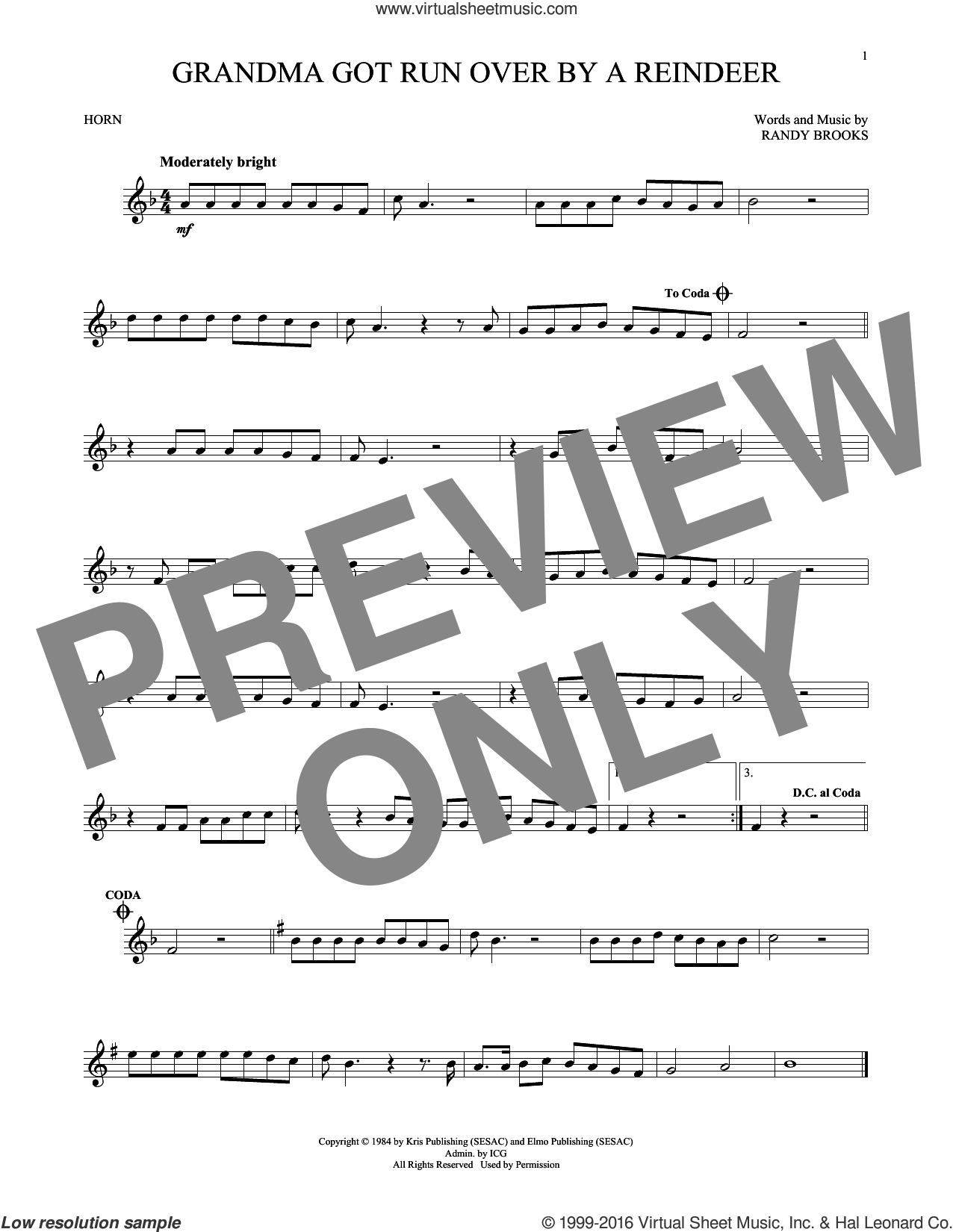 Grandma Got Run Over By A Reindeer sheet music for horn solo by Randy Brooks, intermediate skill level