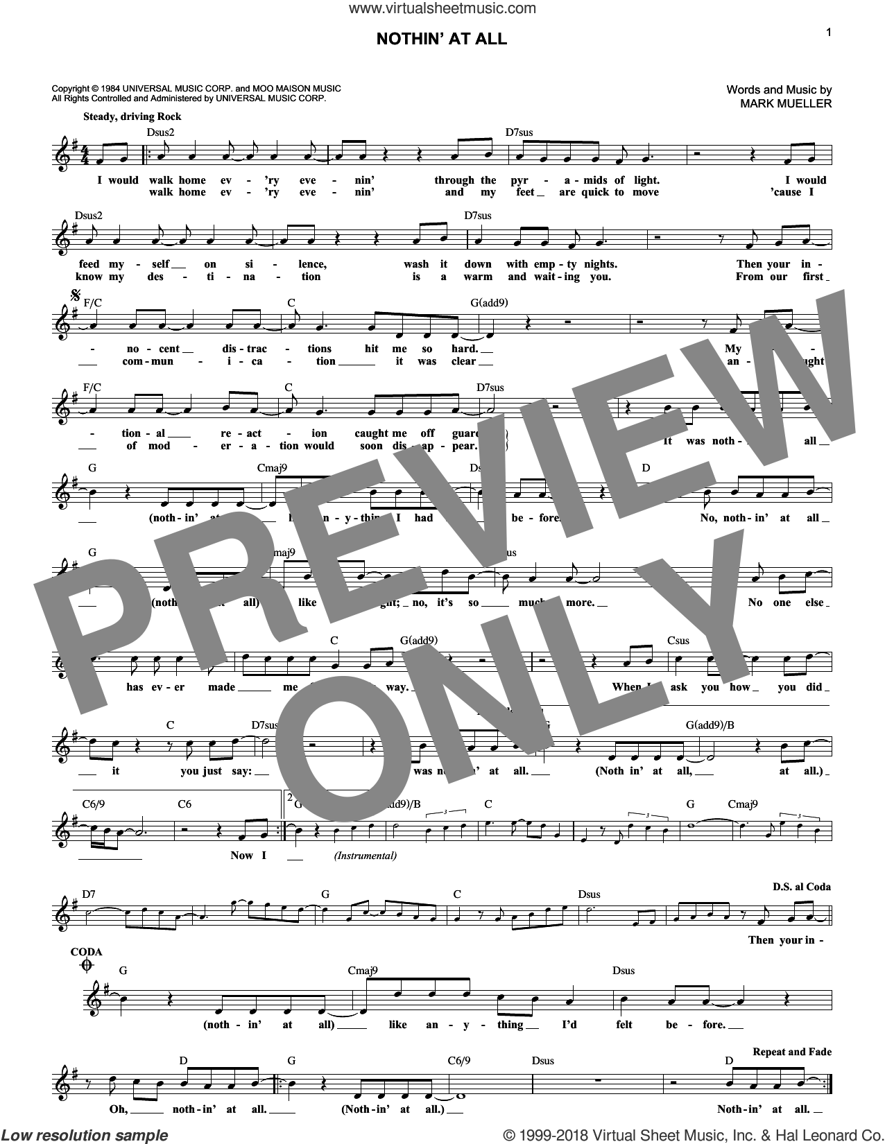 Nothin' At All sheet music for voice and other instruments (fake book) by Heart and Mark Mueller, intermediate. Score Image Preview.