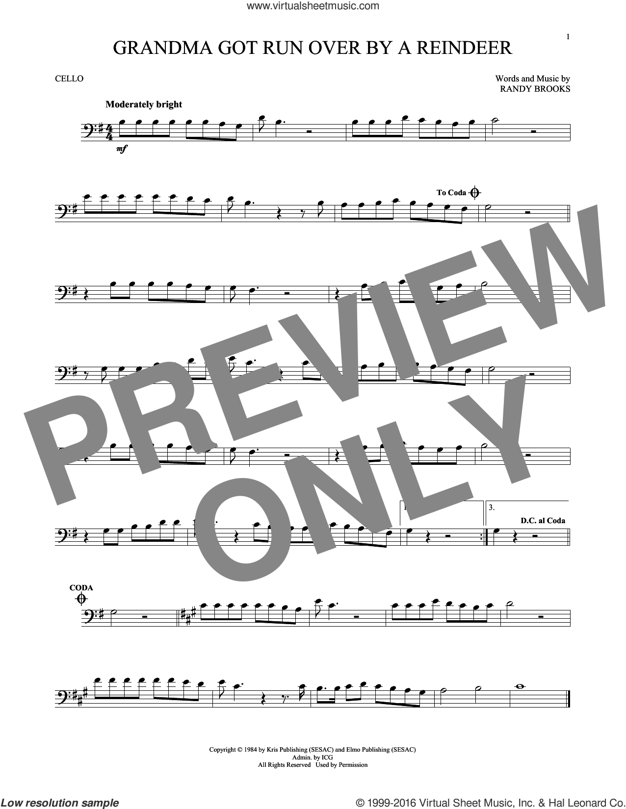 Grandma Got Run Over By A Reindeer sheet music for cello solo by Randy Brooks, intermediate