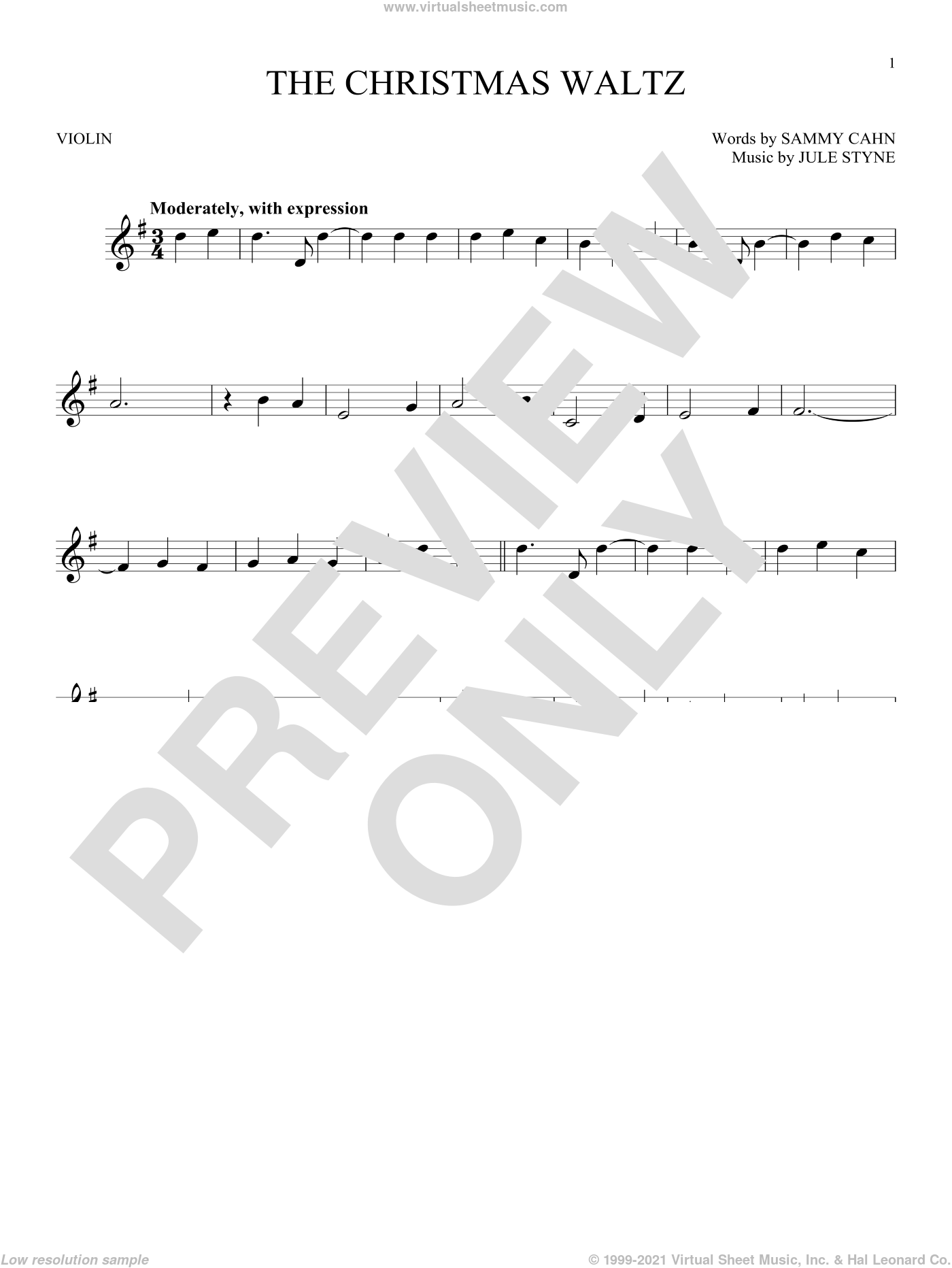 The Christmas Waltz sheet music for violin solo by Frank Sinatra, Jule Styne and Sammy Cahn, intermediate skill level