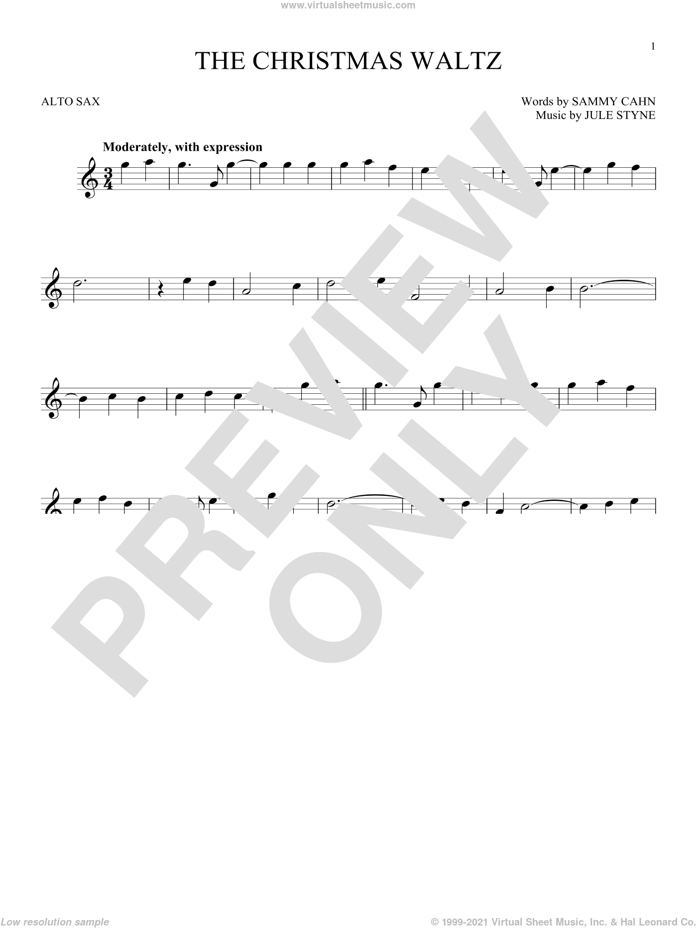 The Christmas Waltz sheet music for alto saxophone solo by Frank Sinatra, Jule Styne and Sammy Cahn, intermediate skill level