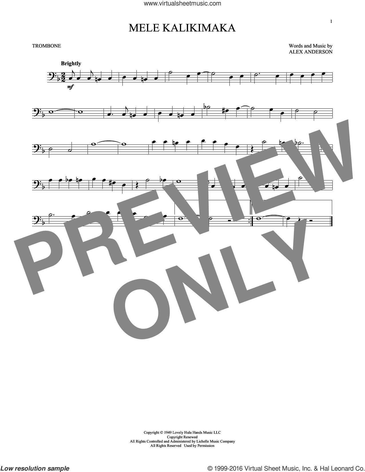Mele Kalikimaka sheet music for trombone solo by Bing Crosby and R. Alex Anderson, intermediate skill level