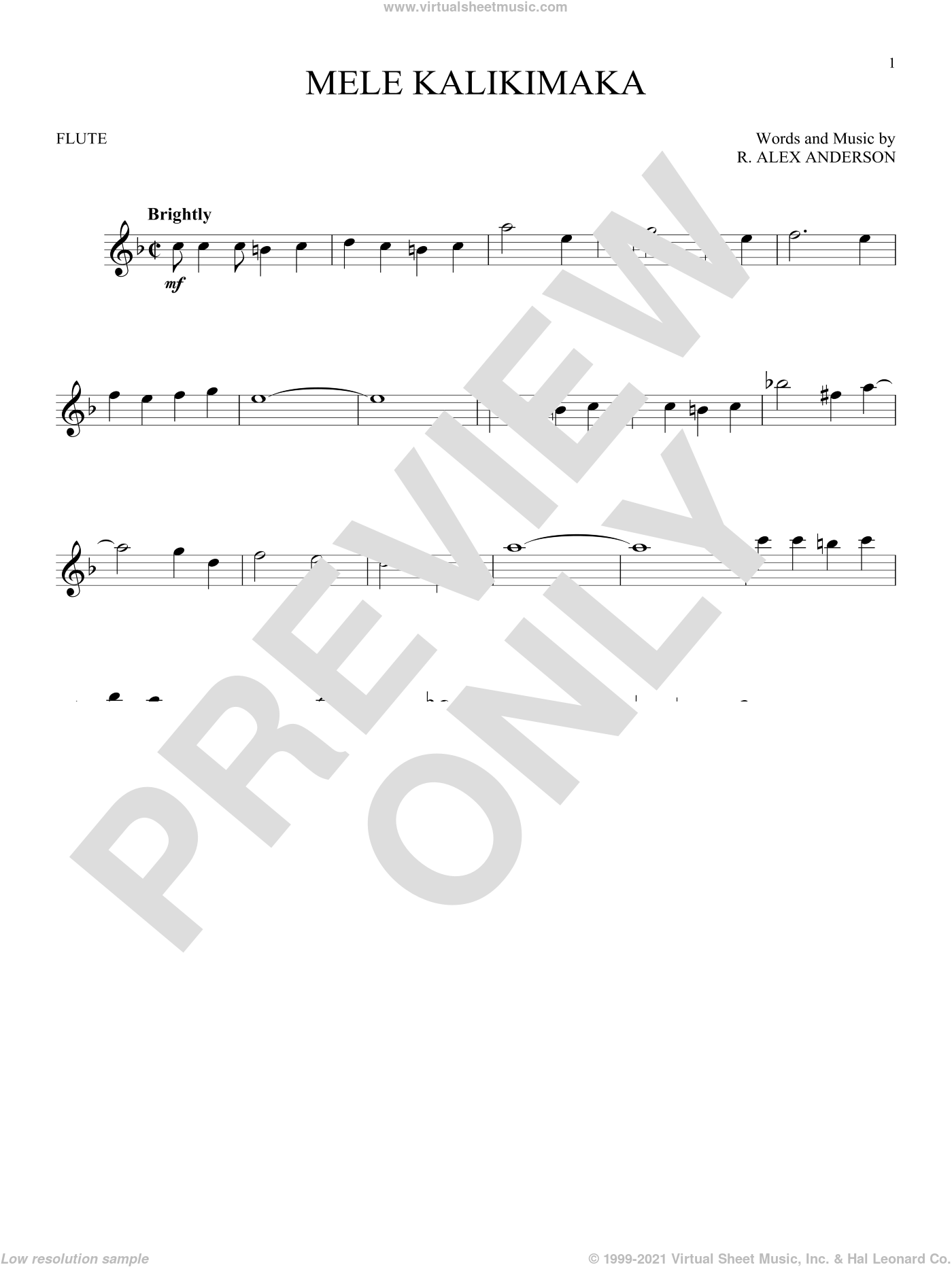 Mele Kalikimaka sheet music for flute solo by R. Alex Anderson and Bing Crosby. Score Image Preview.