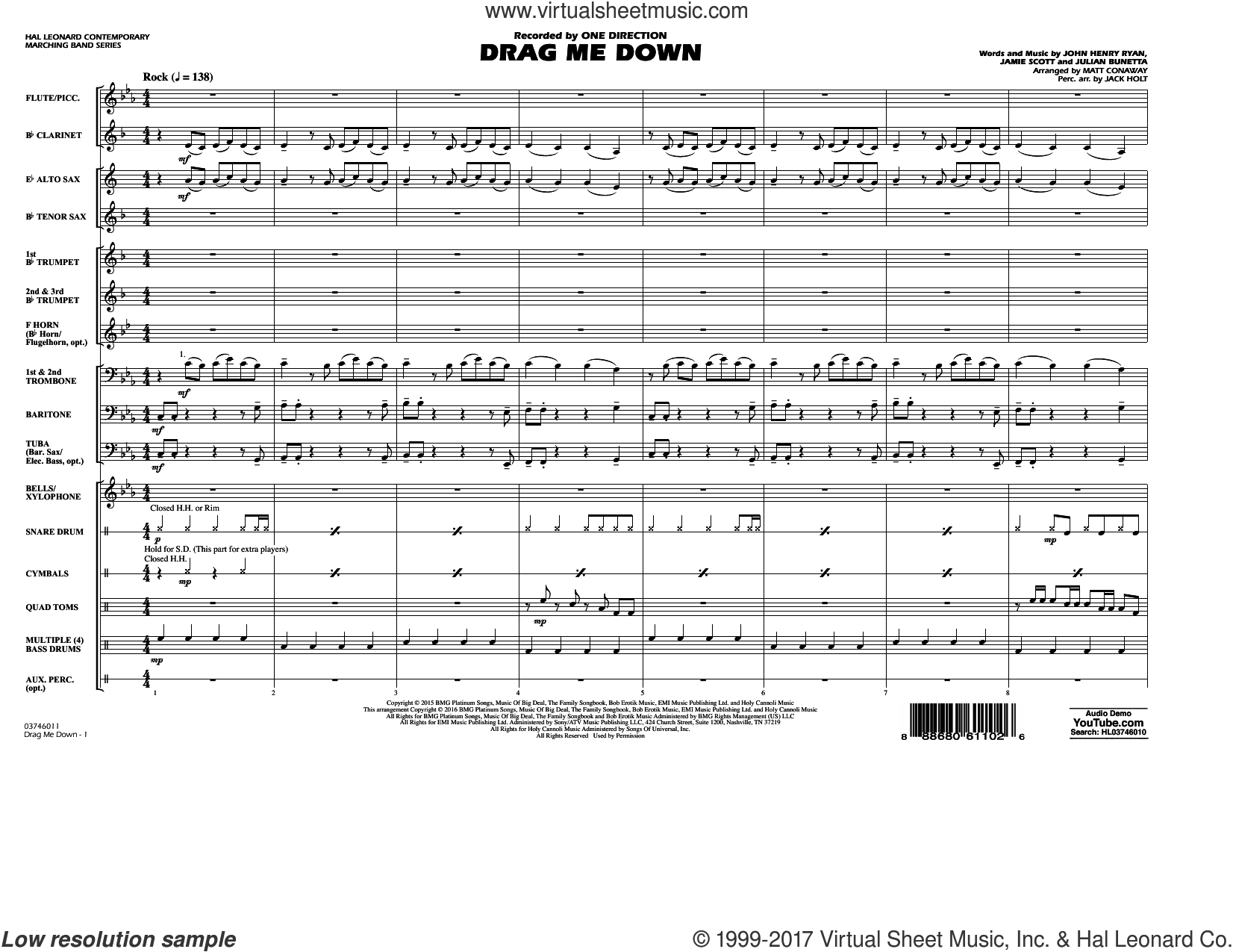Drag Me Down (COMPLETE) sheet music for marching band by Matt Conaway, Jamie Scott, Julian Bunetta and One Direction, intermediate. Score Image Preview.