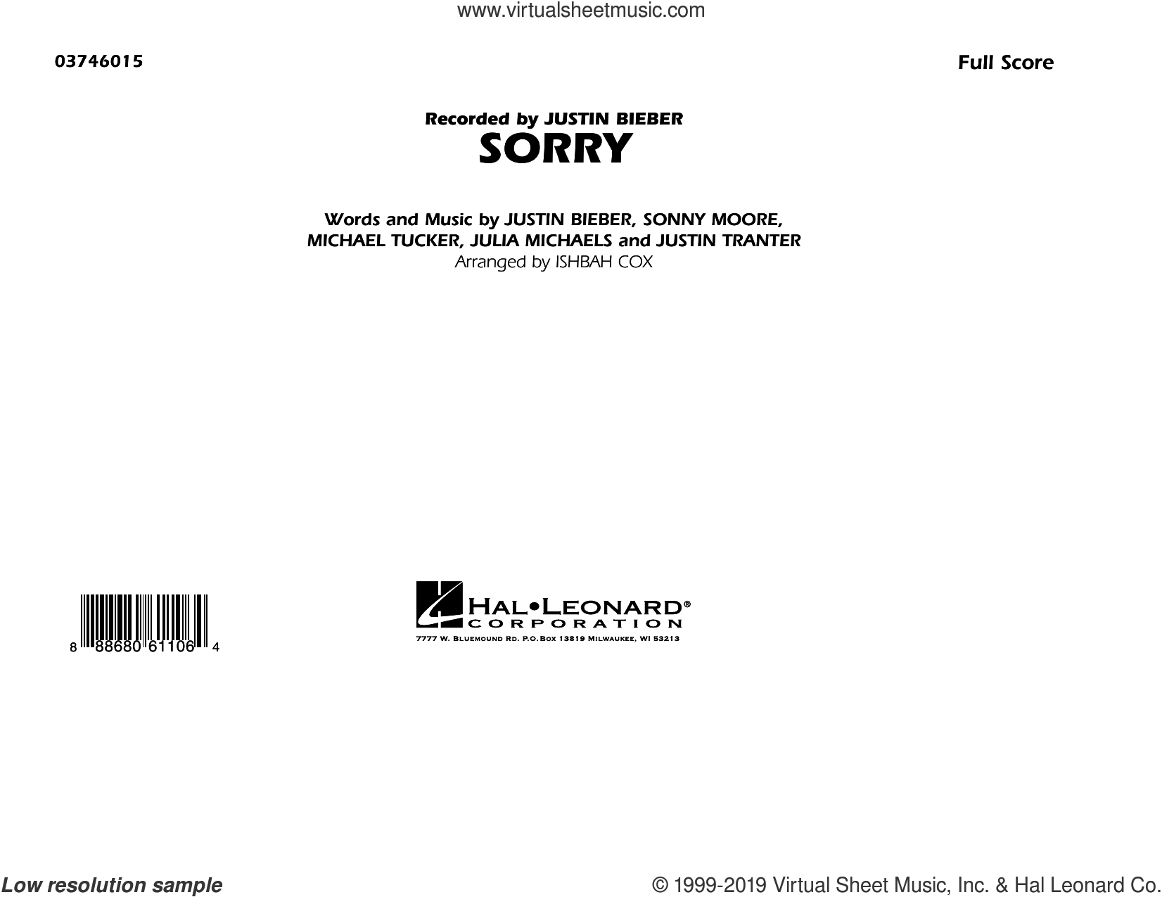 Sorry (COMPLETE) sheet music for marching band by Justin Bieber, Ishbah Cox, Julia Michaels, Justin Tranter, Michael Tucker and Sonny Moore, intermediate skill level