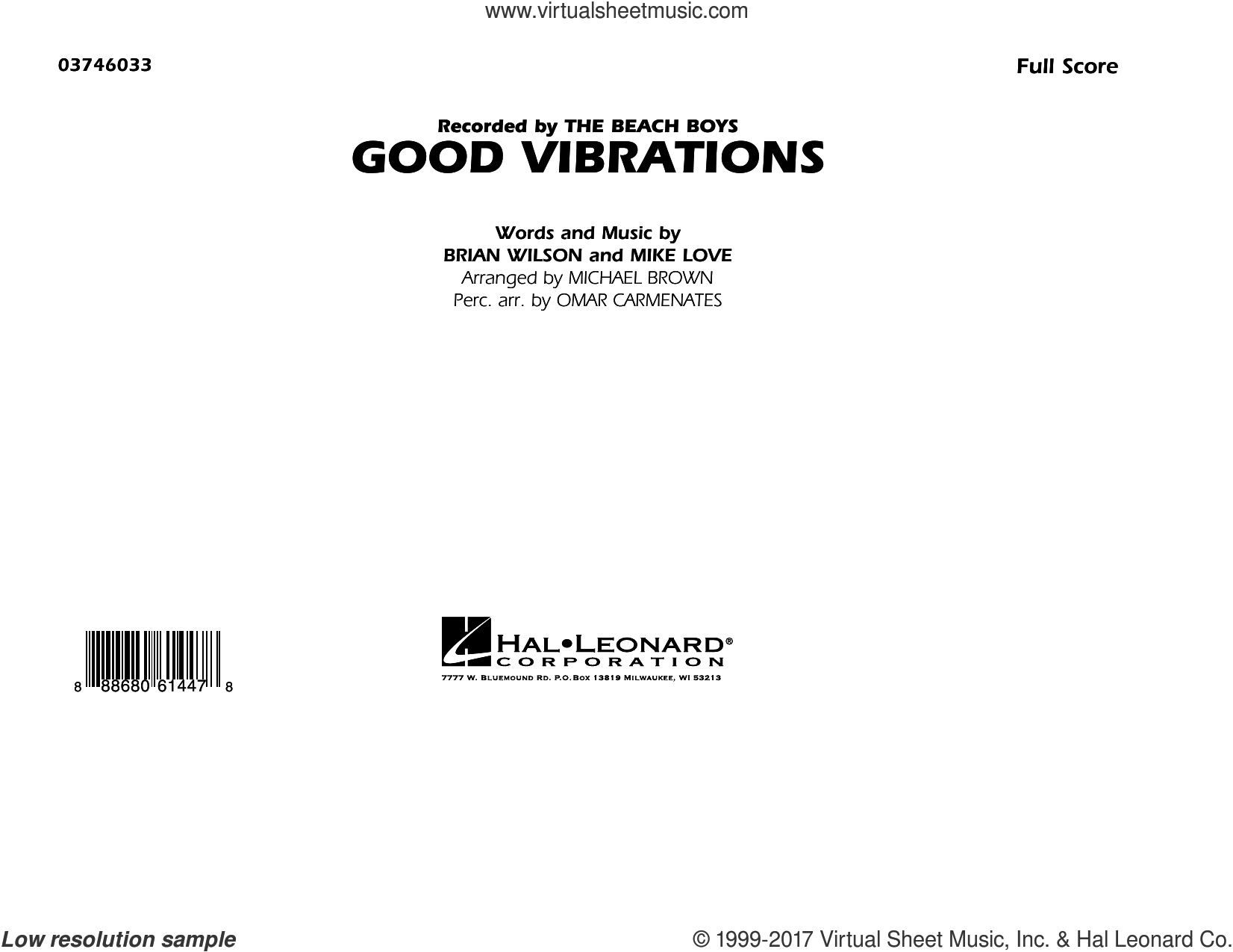 Good Vibrations (COMPLETE) sheet music for marching band by Michael Brown, Brian Wilson and The Beach Boys, intermediate marching band. Score Image Preview.