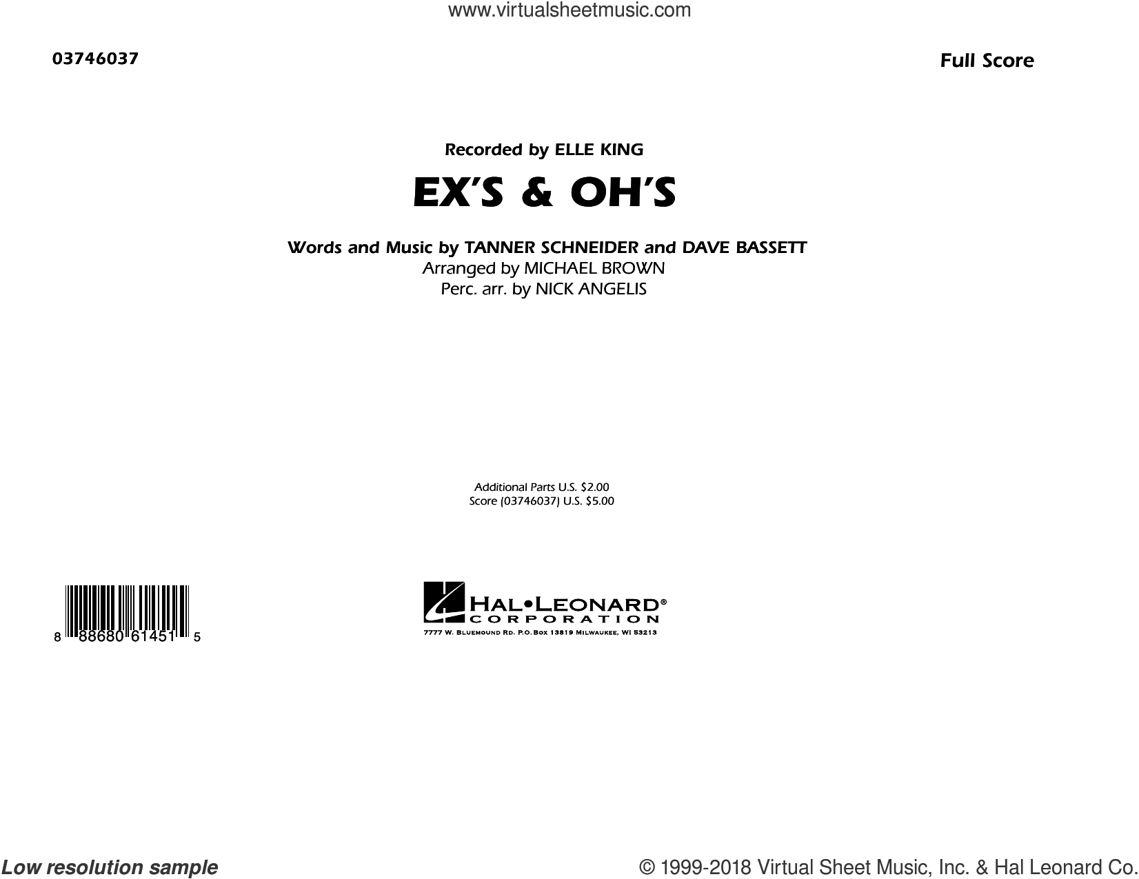 Ex's and Oh's (COMPLETE) sheet music for marching band by Michael Brown, Dave Bassett, Elle King, Nick Angelis and Tanner Schneider, intermediate skill level